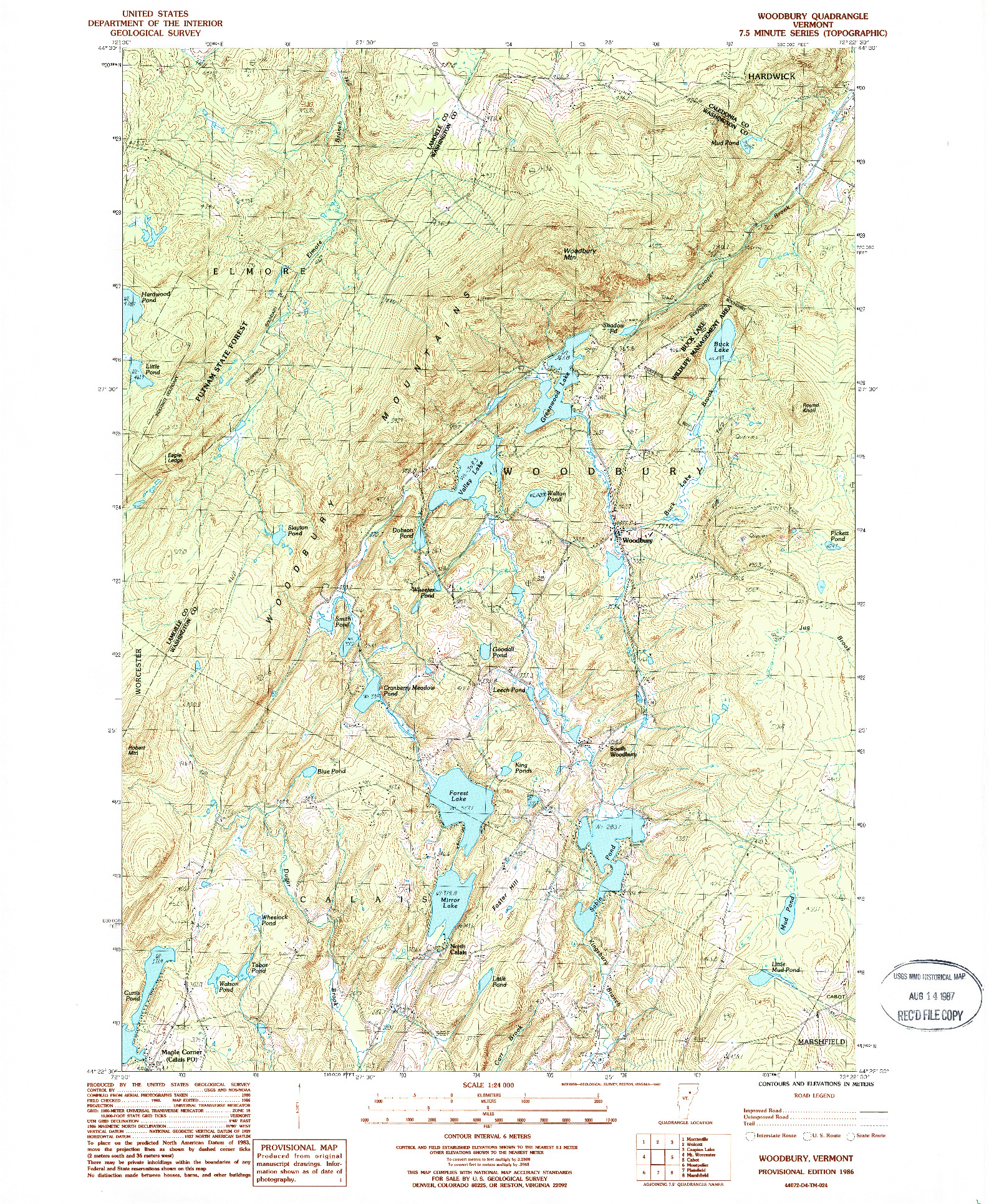 USGS 1:24000-SCALE QUADRANGLE FOR WOODBURY, VT 1986