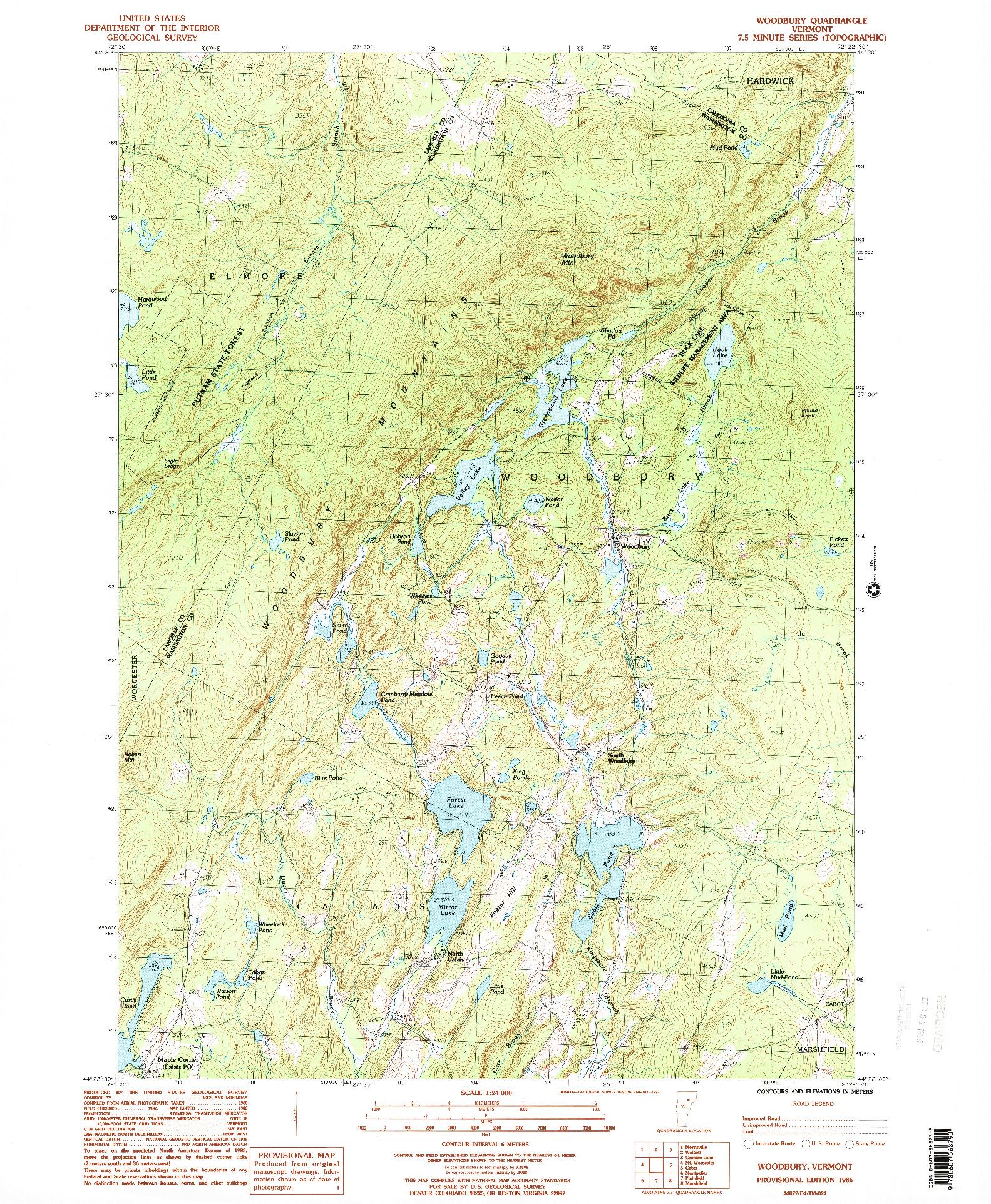 USGS 1:24000-SCALE QUADRANGLE FOR WOODBURY, VT 1986