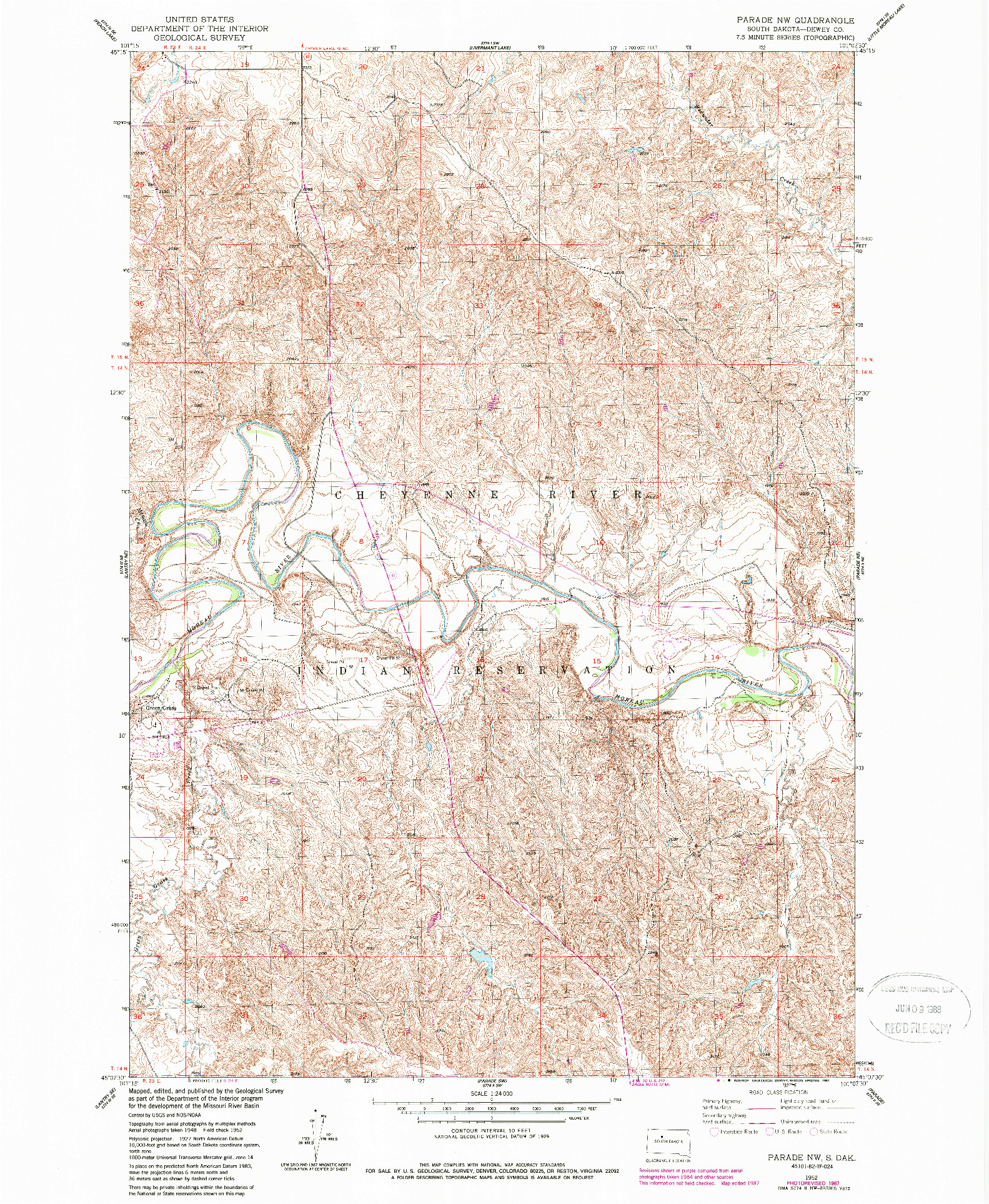 USGS 1:24000-SCALE QUADRANGLE FOR PARADE NW, SD 1952