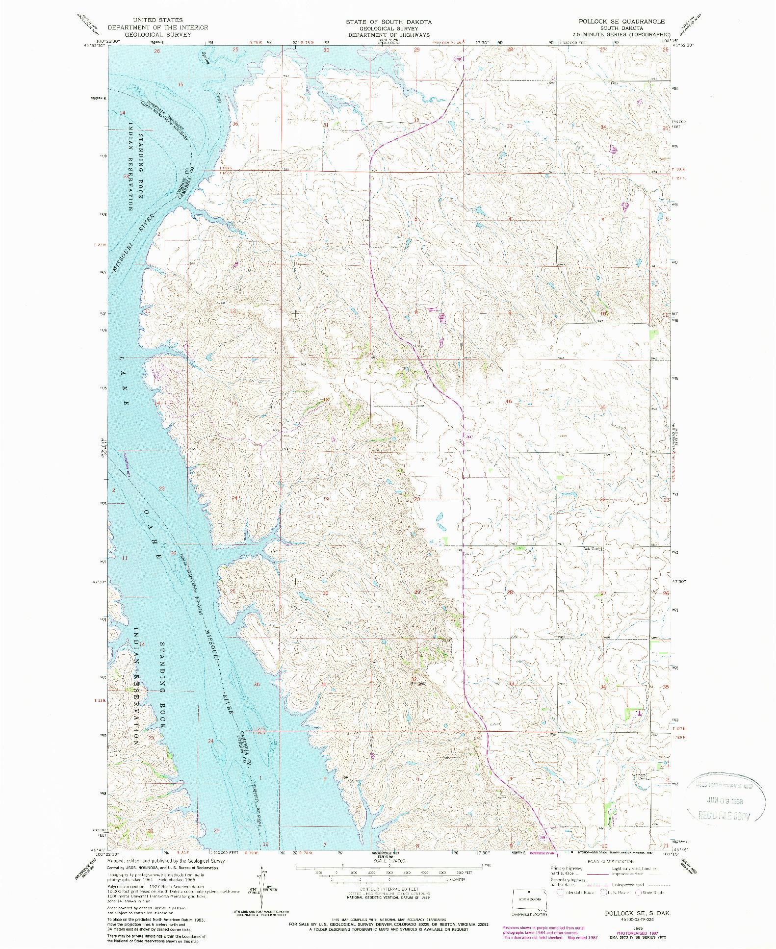 USGS 1:24000-SCALE QUADRANGLE FOR POLLOCK SE, SD 1965