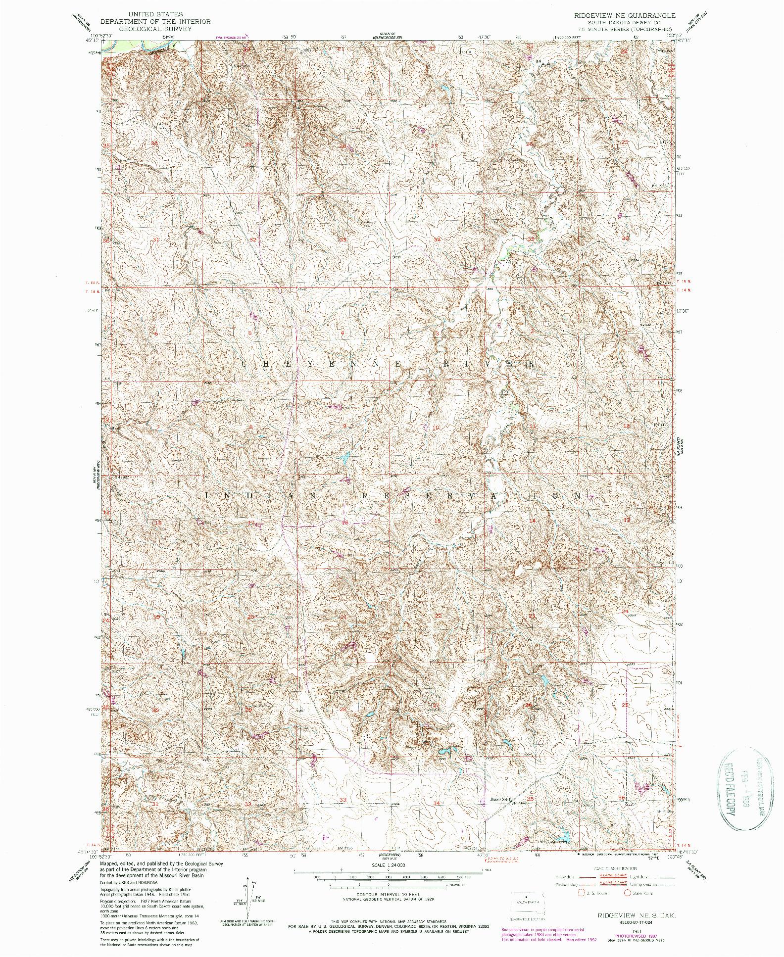 USGS 1:24000-SCALE QUADRANGLE FOR RIDGEVIEW NE, SD 1951