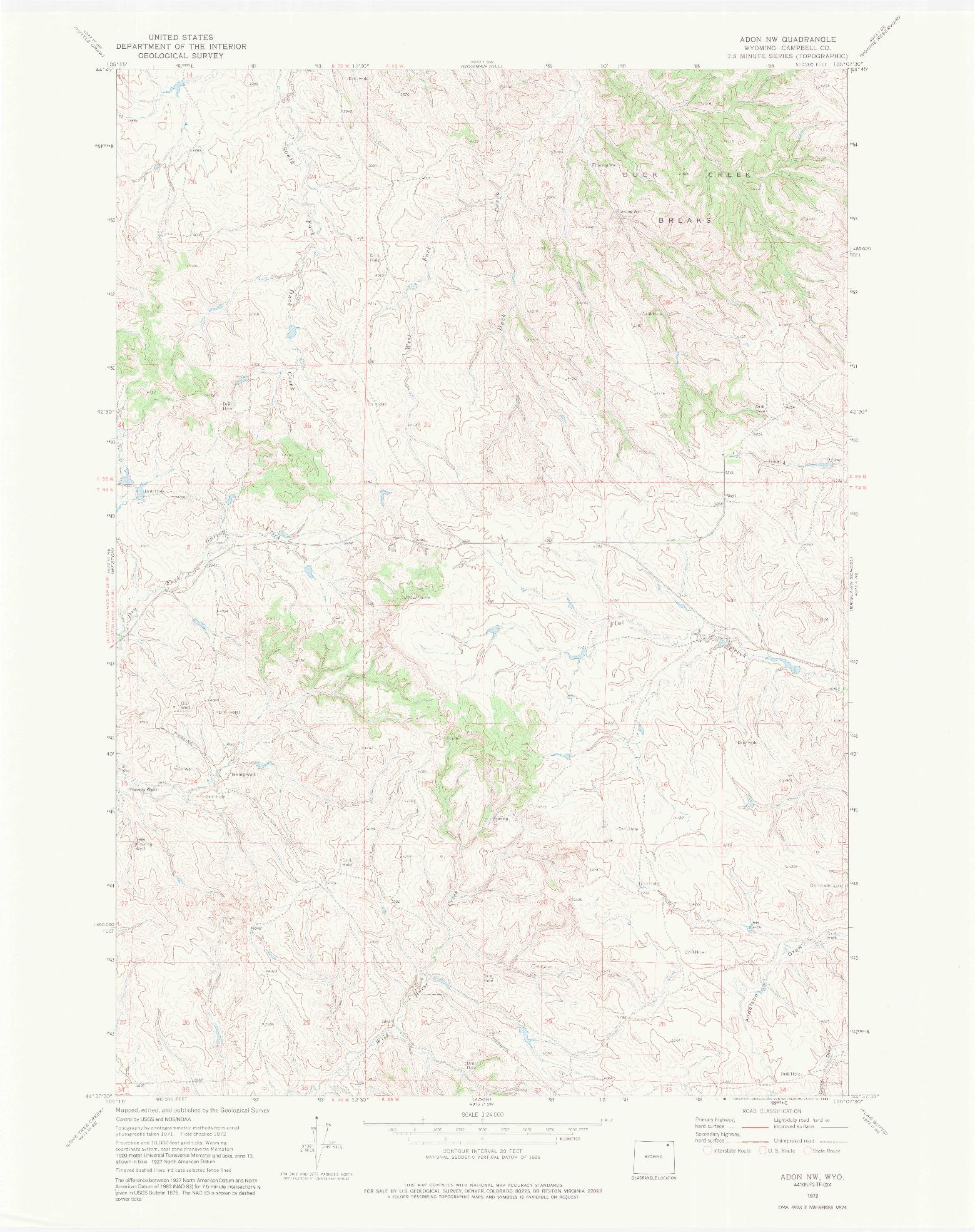USGS 1:24000-SCALE QUADRANGLE FOR ADON NW, WY 1972