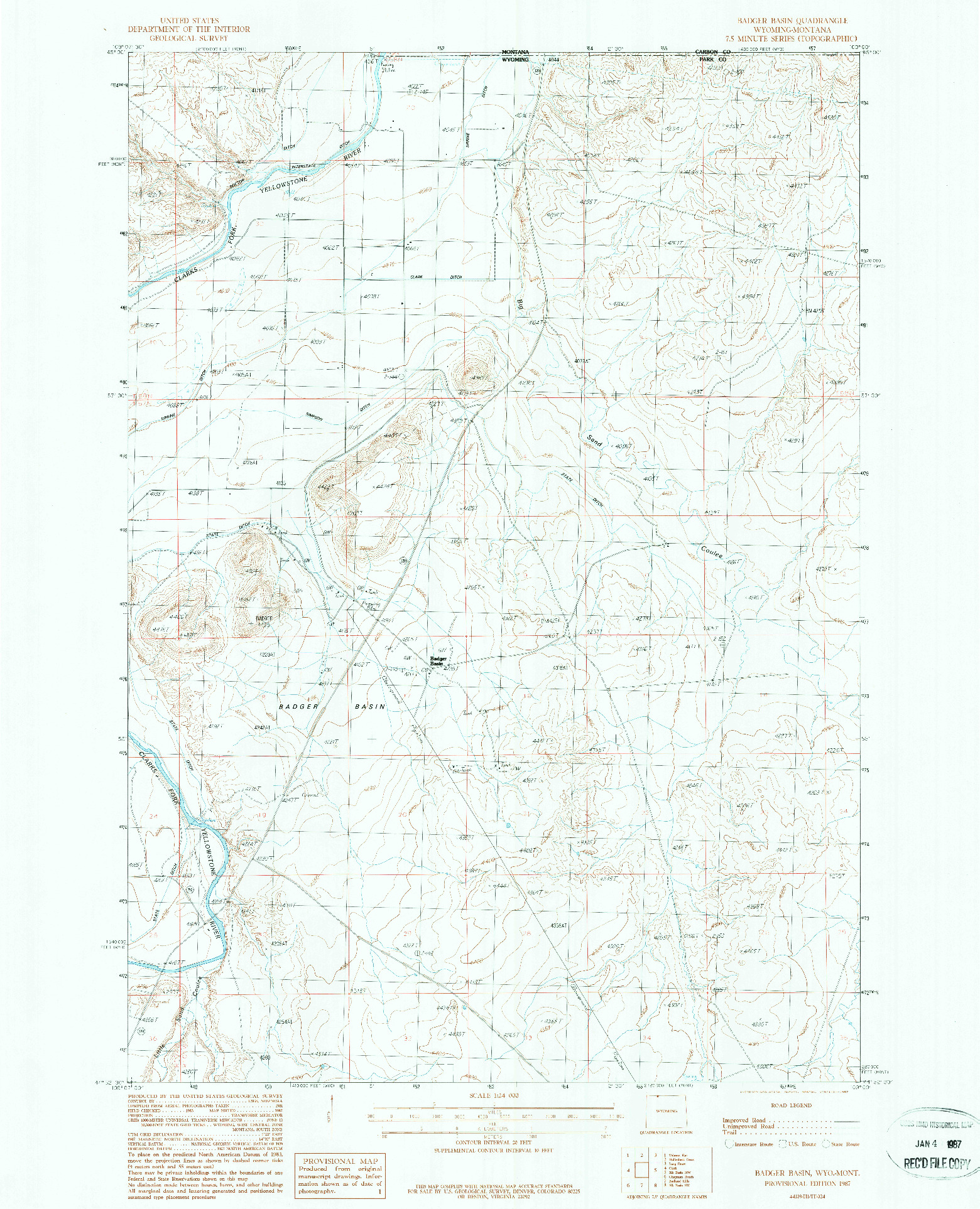 USGS 1:24000-SCALE QUADRANGLE FOR BADGER BASIN, WY 1987