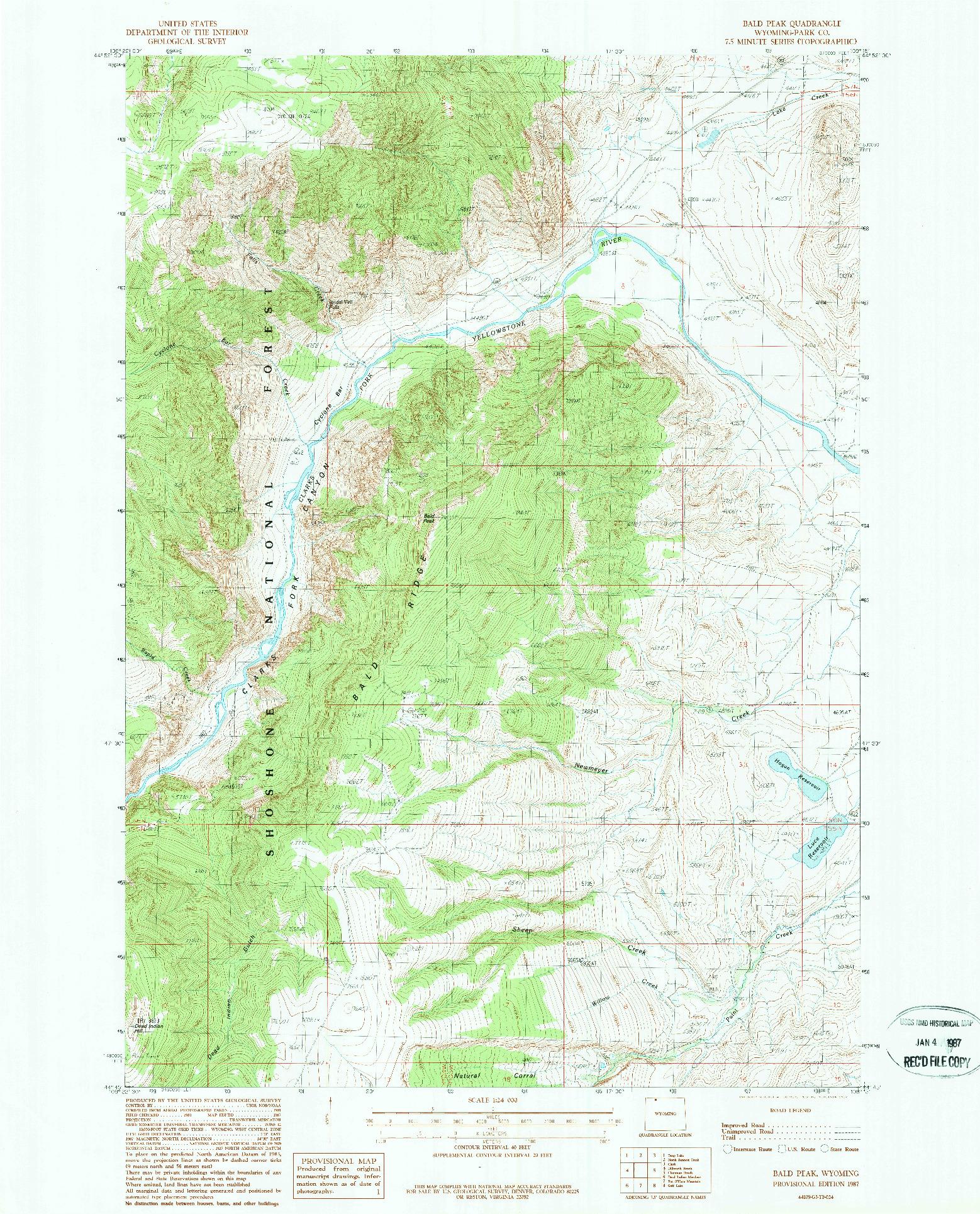 USGS 1:24000-SCALE QUADRANGLE FOR BALD PEAK, WY 1987