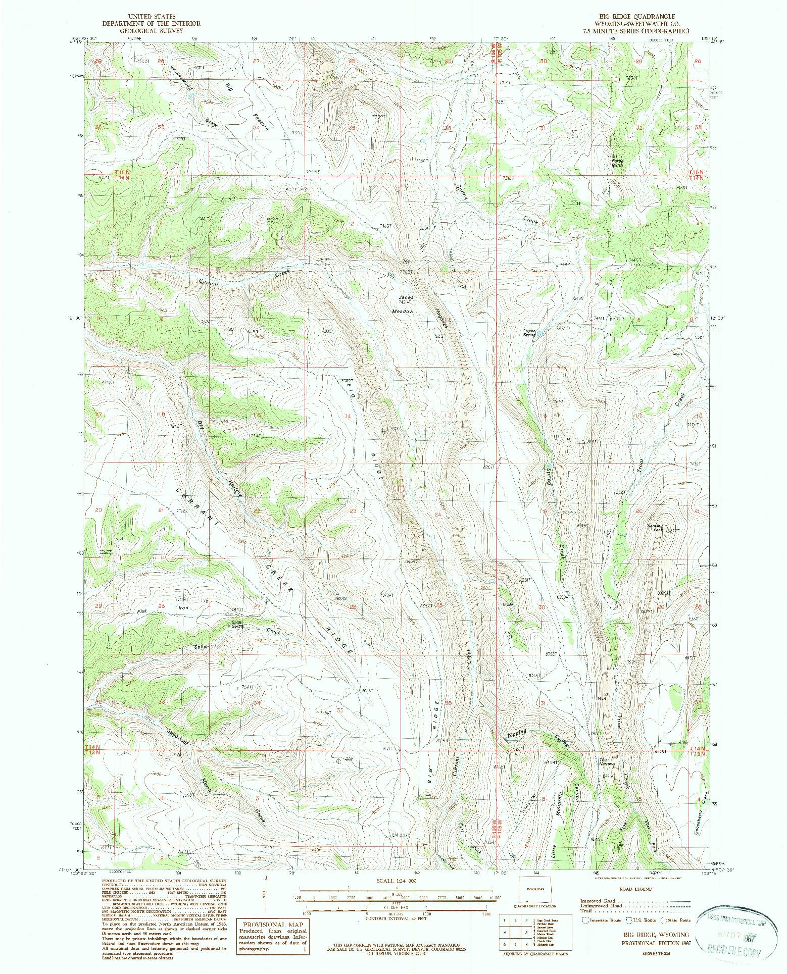 USGS 1:24000-SCALE QUADRANGLE FOR BIG RIDGE, WY 1987