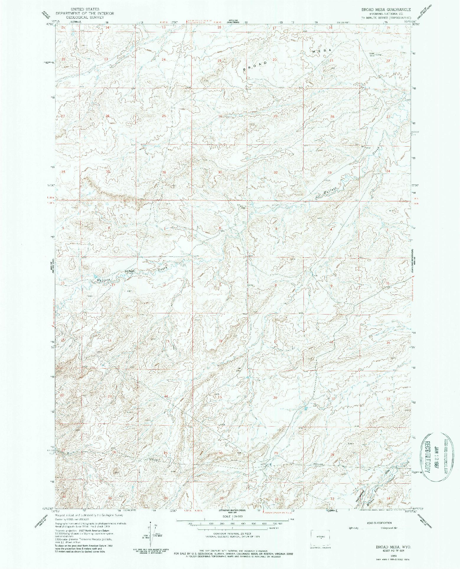USGS 1:24000-SCALE QUADRANGLE FOR BROAD MESA, WY 1959