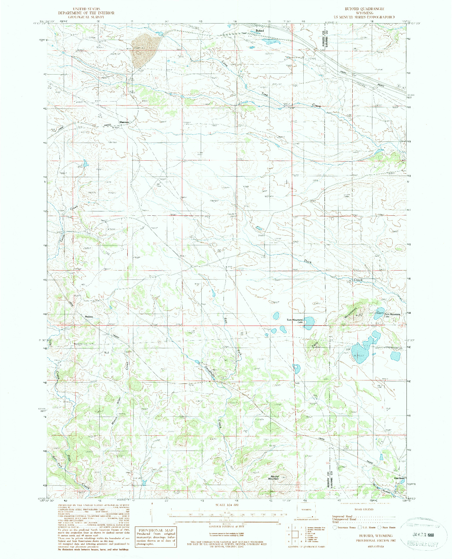 USGS 1:24000-SCALE QUADRANGLE FOR BUFORD, WY 1987