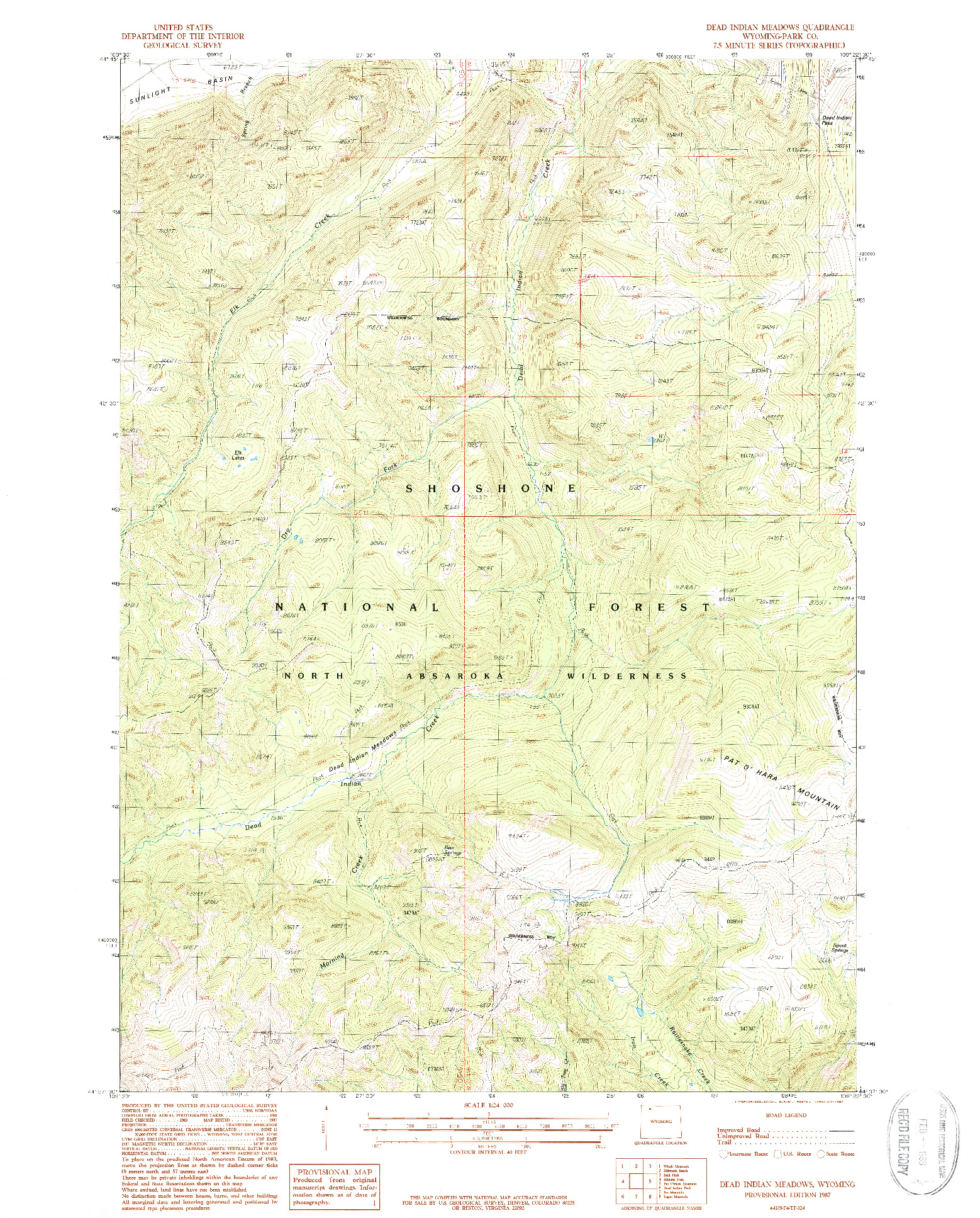 USGS 1:24000-SCALE QUADRANGLE FOR DEAD INDIAN MEADOWS, WY 1987