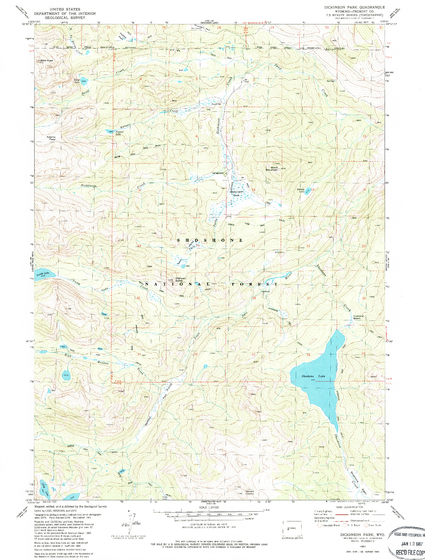 USGS 1:24000-SCALE QUADRANGLE FOR DICKINSON PARK, WY 1981
