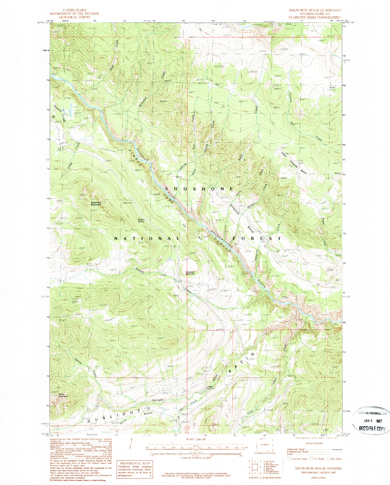 USGS 1:24000-SCALE QUADRANGLE FOR DILLWORTH BENCH, WY 1987