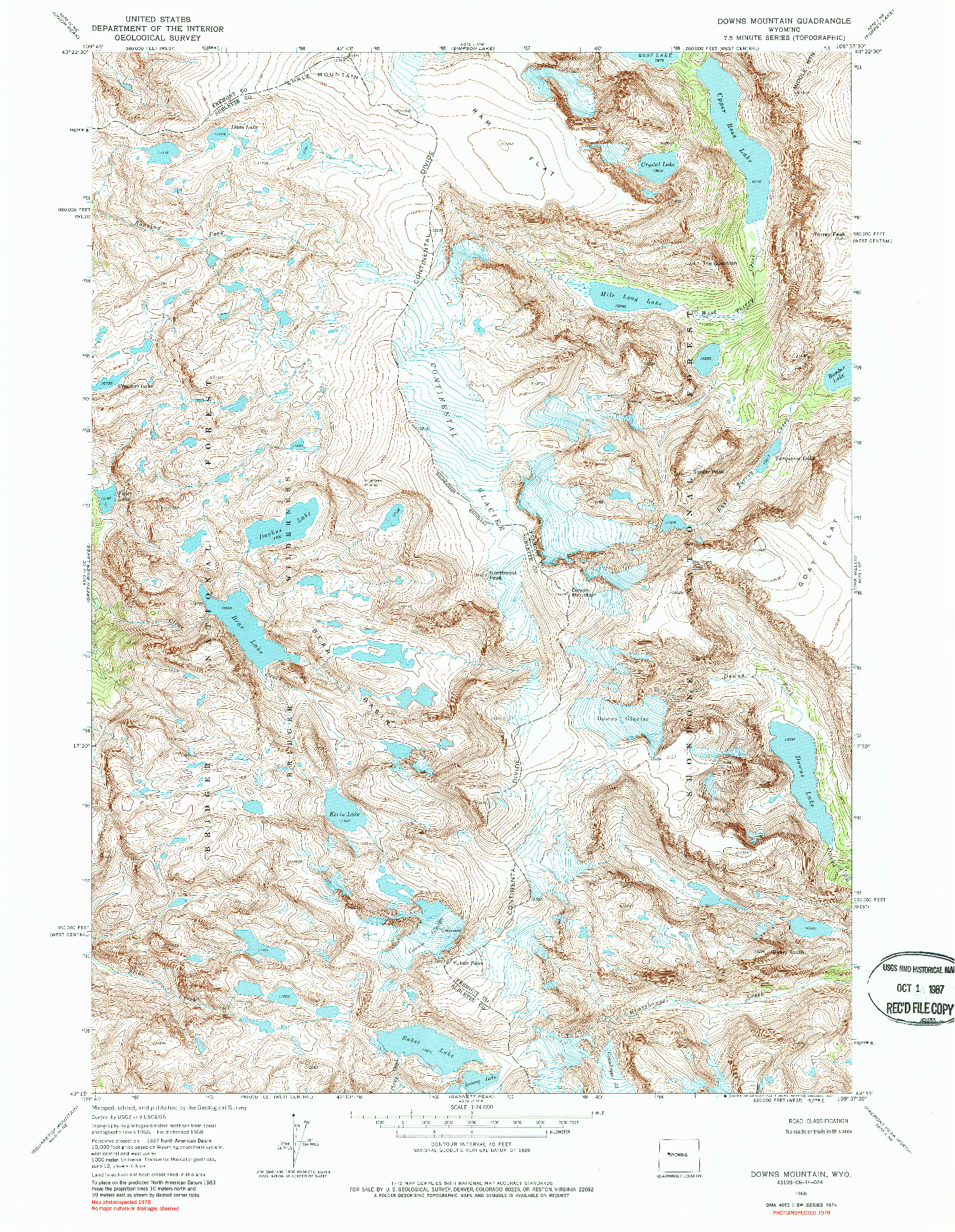 USGS 1:24000-SCALE QUADRANGLE FOR DOWNS MOUNTAIN, WY 1968