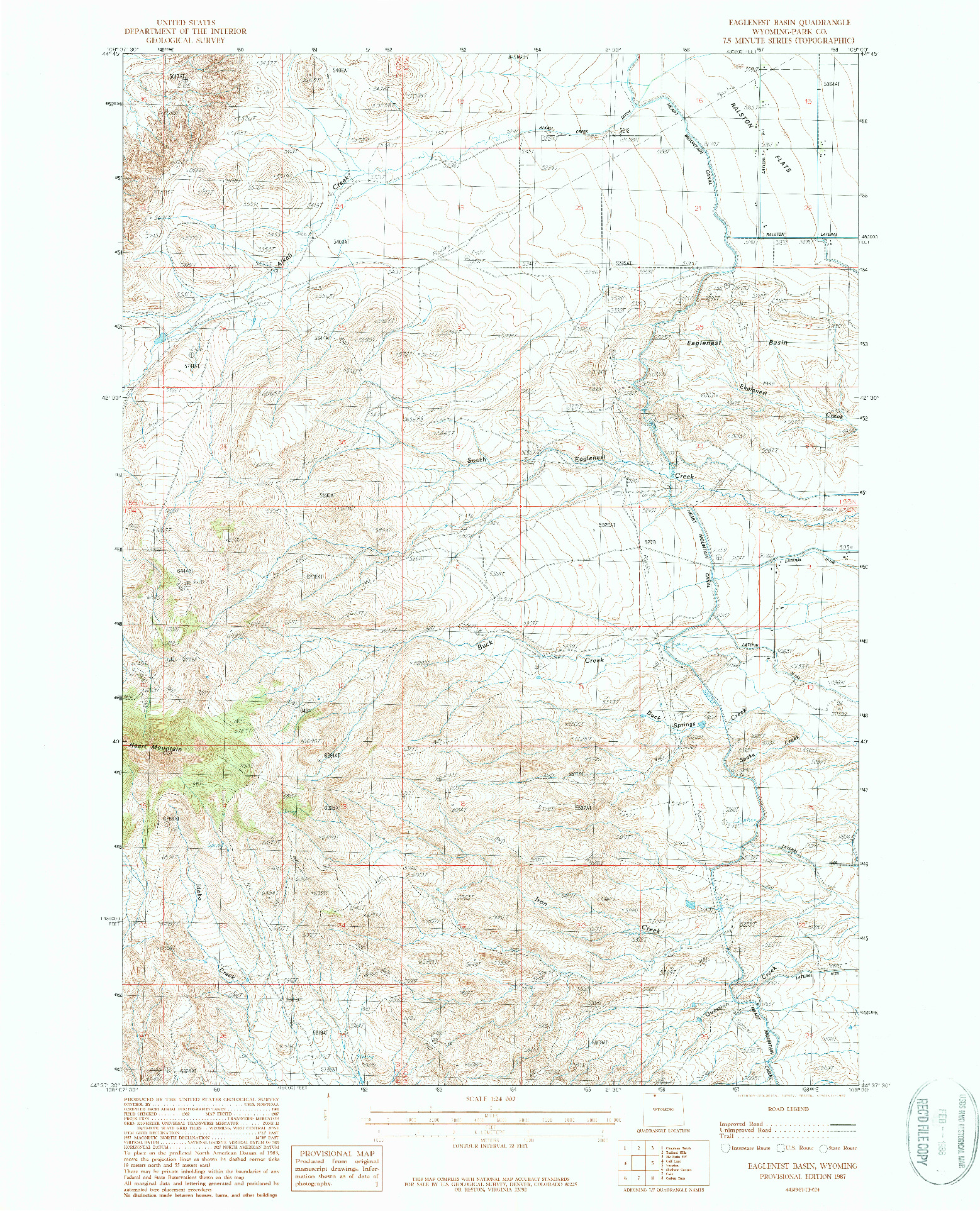 USGS 1:24000-SCALE QUADRANGLE FOR EAGLENEST BASIN, WY 1987