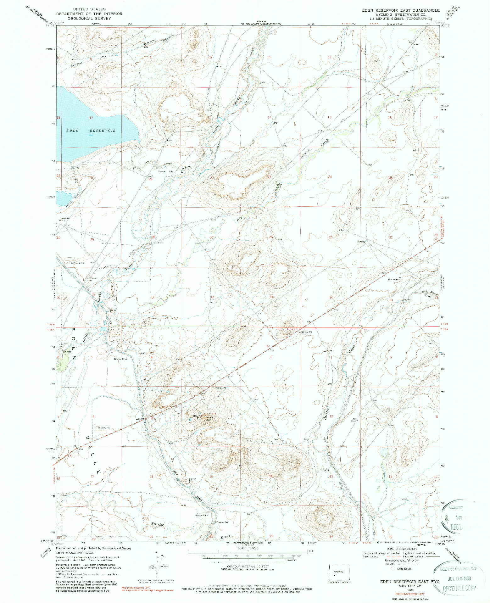 USGS 1:24000-SCALE QUADRANGLE FOR EDEN RESERVOIR EAST, WY 1968
