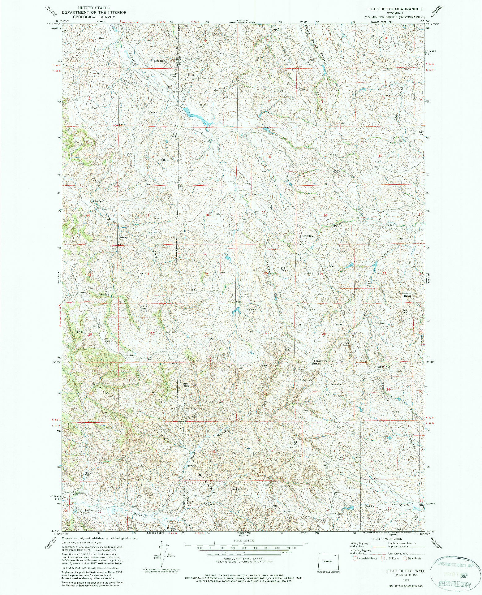 USGS 1:24000-SCALE QUADRANGLE FOR FLAG BUTTE, WY 1972