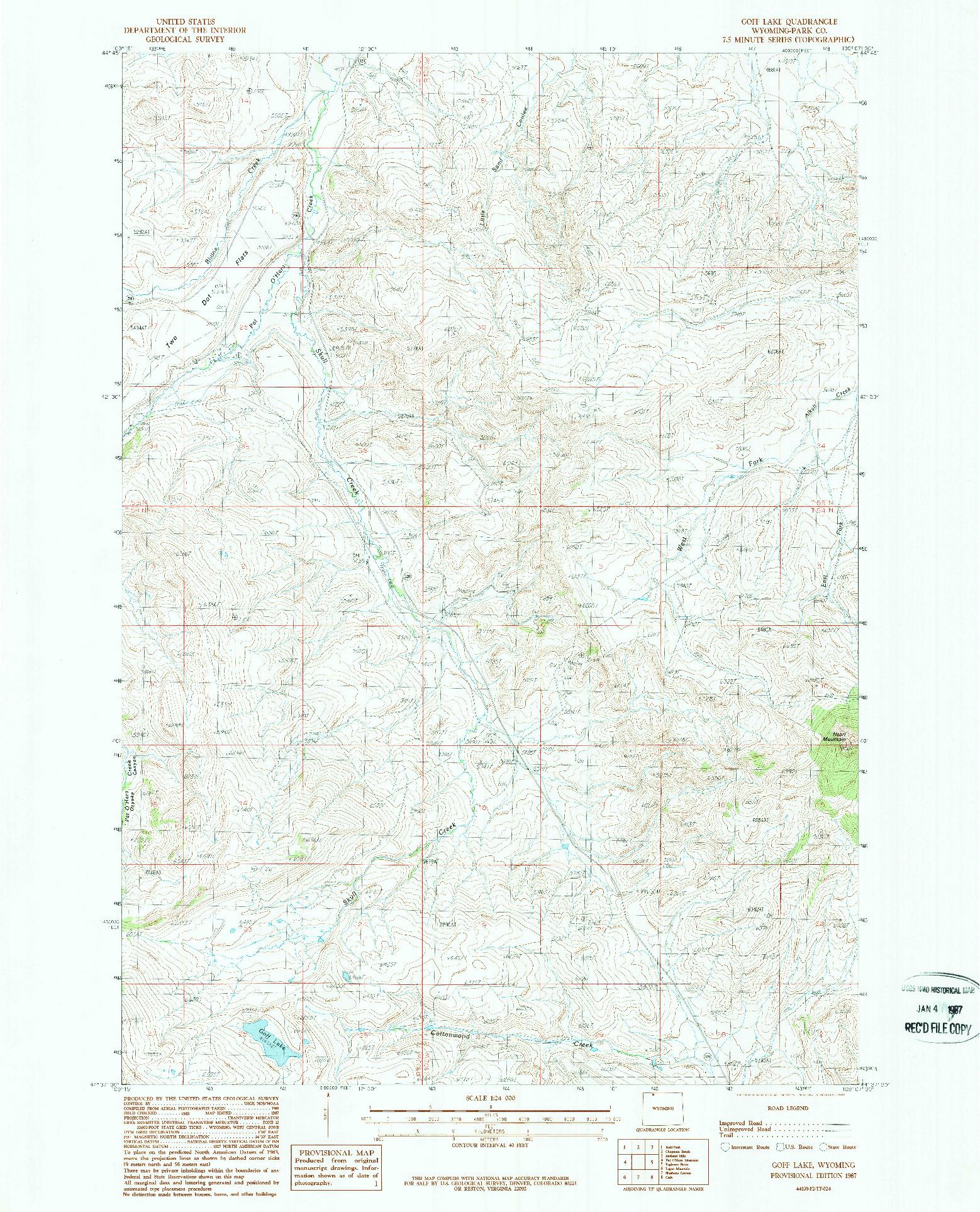 USGS 1:24000-SCALE QUADRANGLE FOR GOFF LAKE, WY 1987