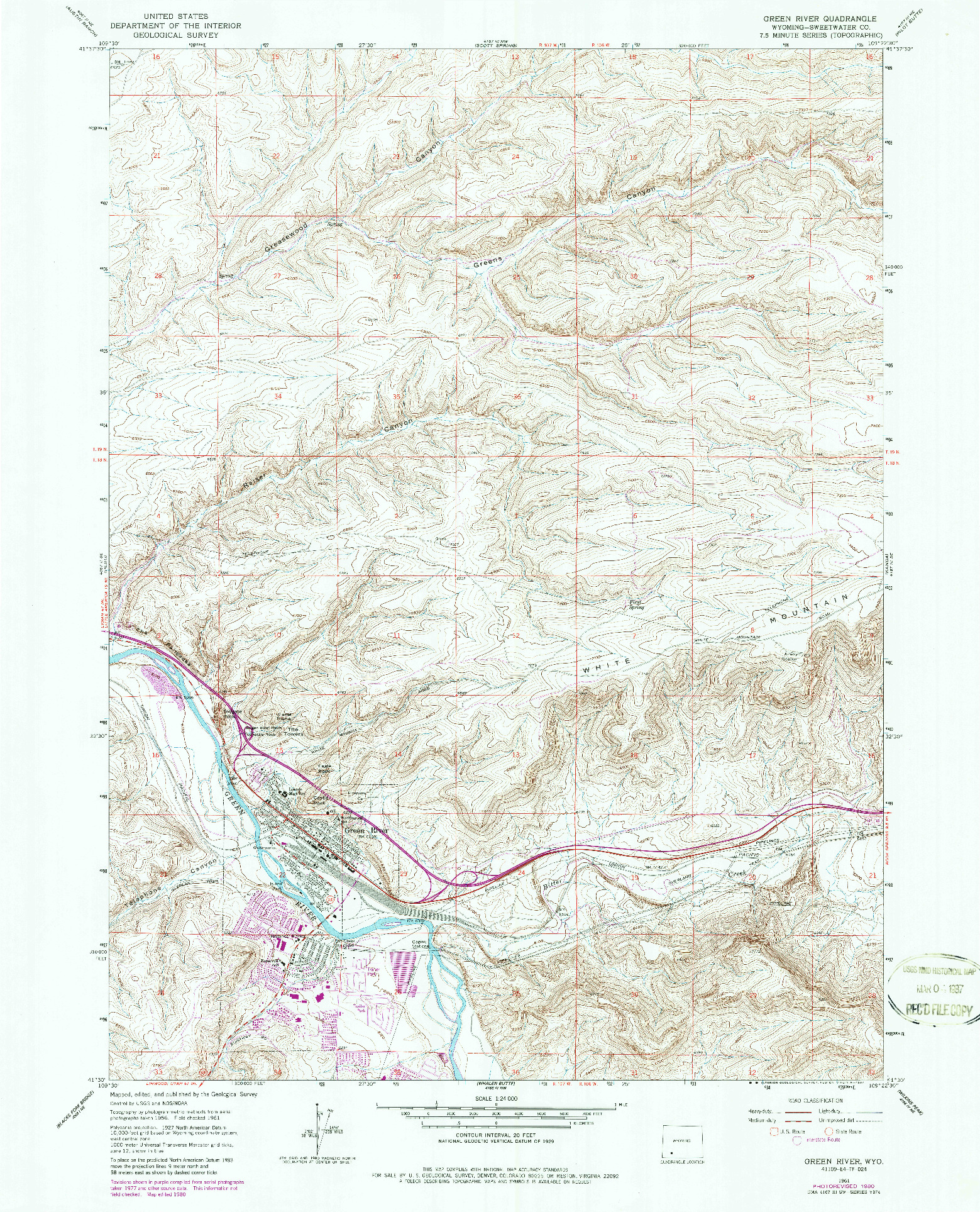 USGS 1:24000-SCALE QUADRANGLE FOR GREEN RIVER, WY 1961