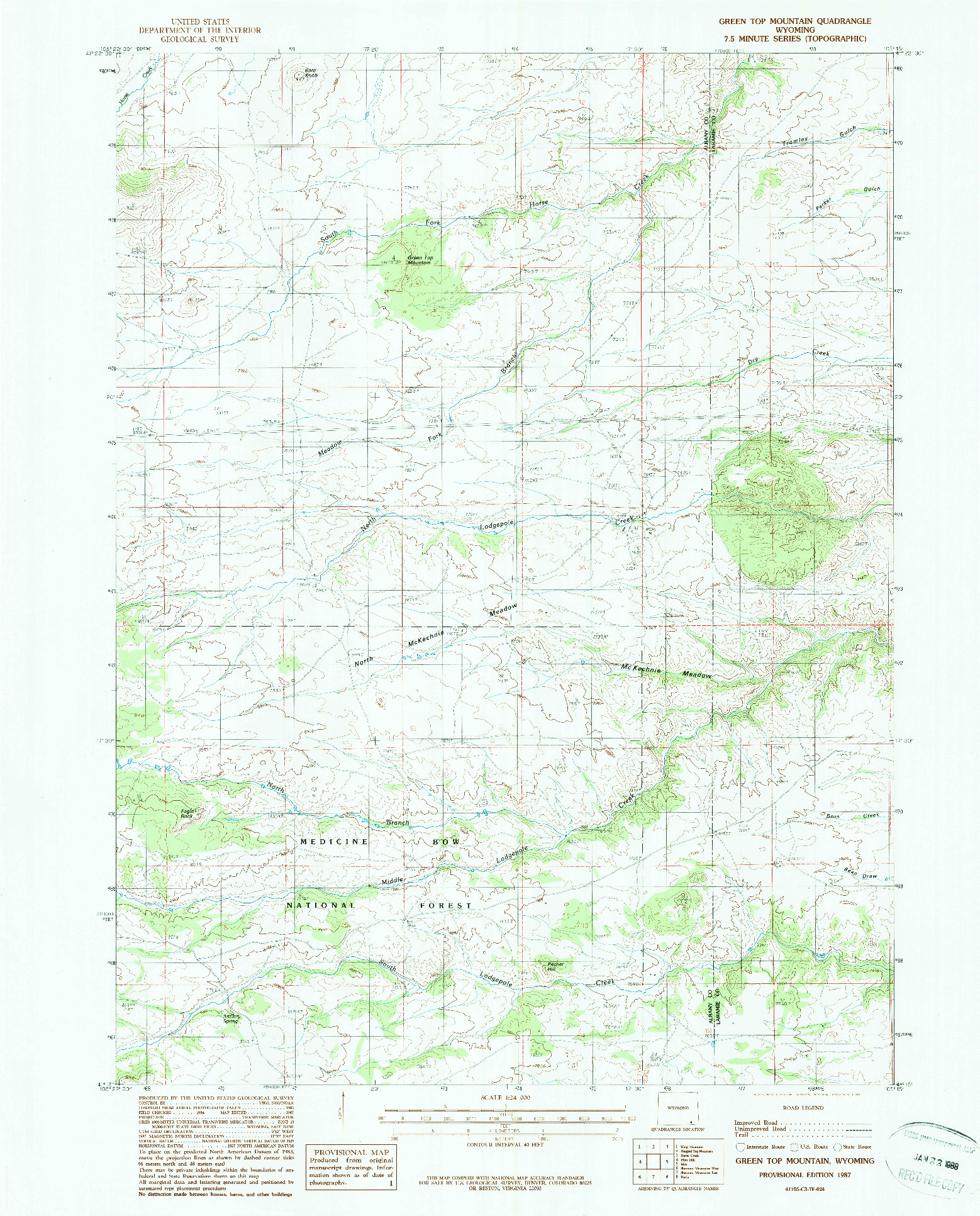 USGS 1:24000-SCALE QUADRANGLE FOR GREEN TOP MOUNTAIN, WY 1987