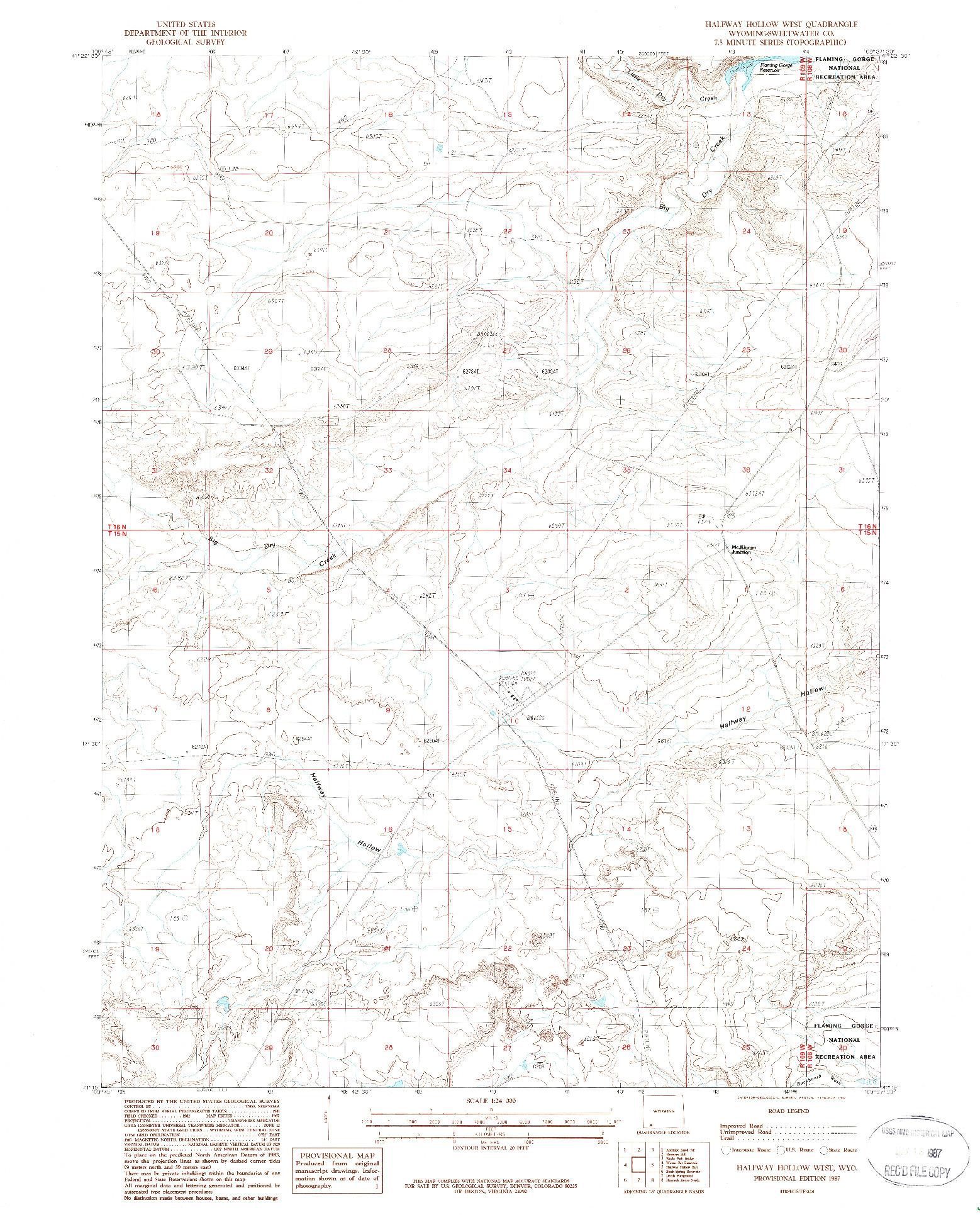 USGS 1:24000-SCALE QUADRANGLE FOR HALFWAY HOLLOW WEST, WY 1987