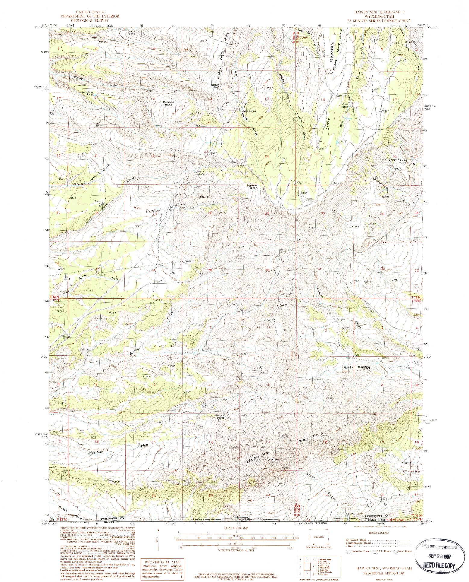USGS 1:24000-SCALE QUADRANGLE FOR HAWKS NEST, WY 1987