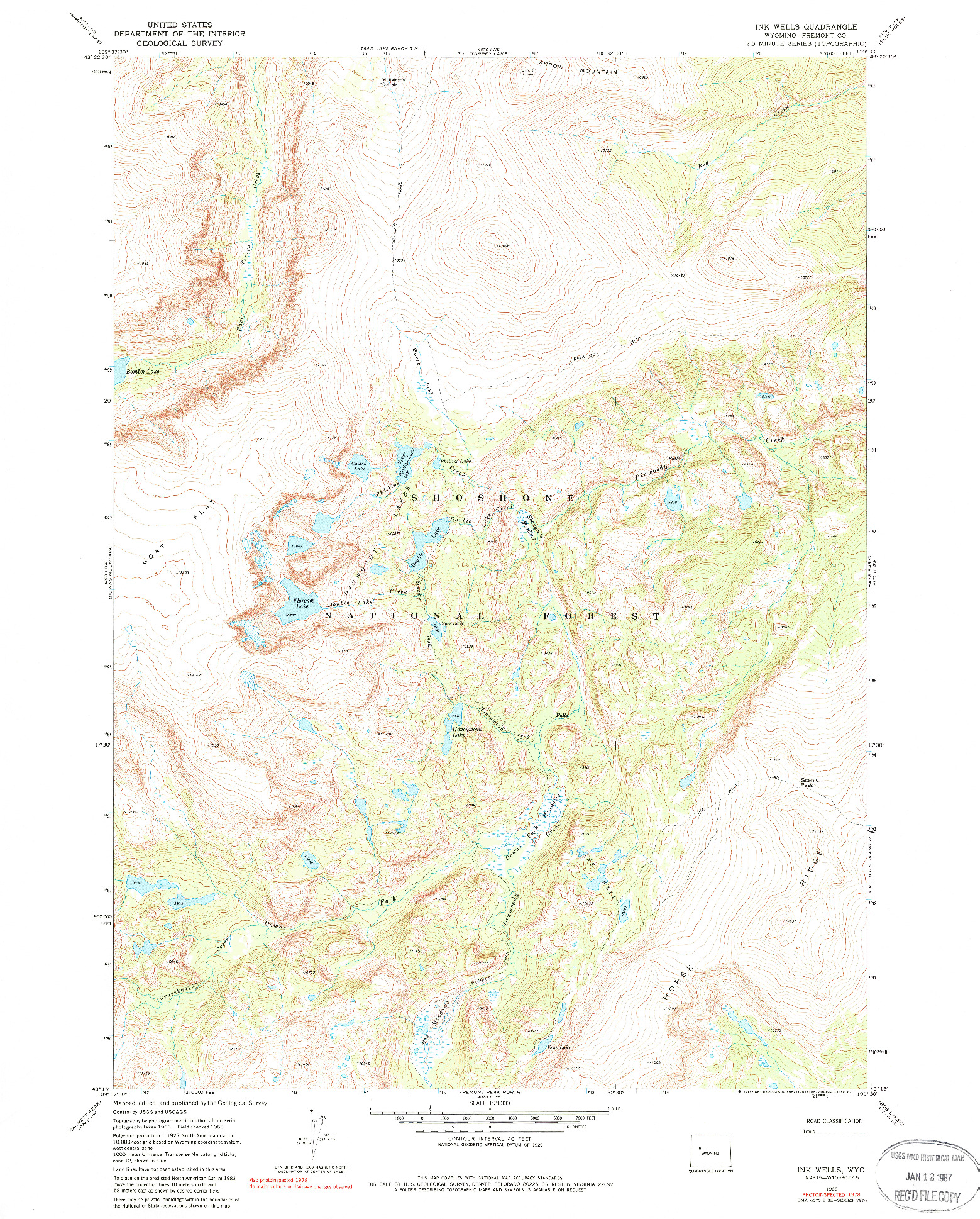 USGS 1:24000-SCALE QUADRANGLE FOR INK WELLS, WY 1968
