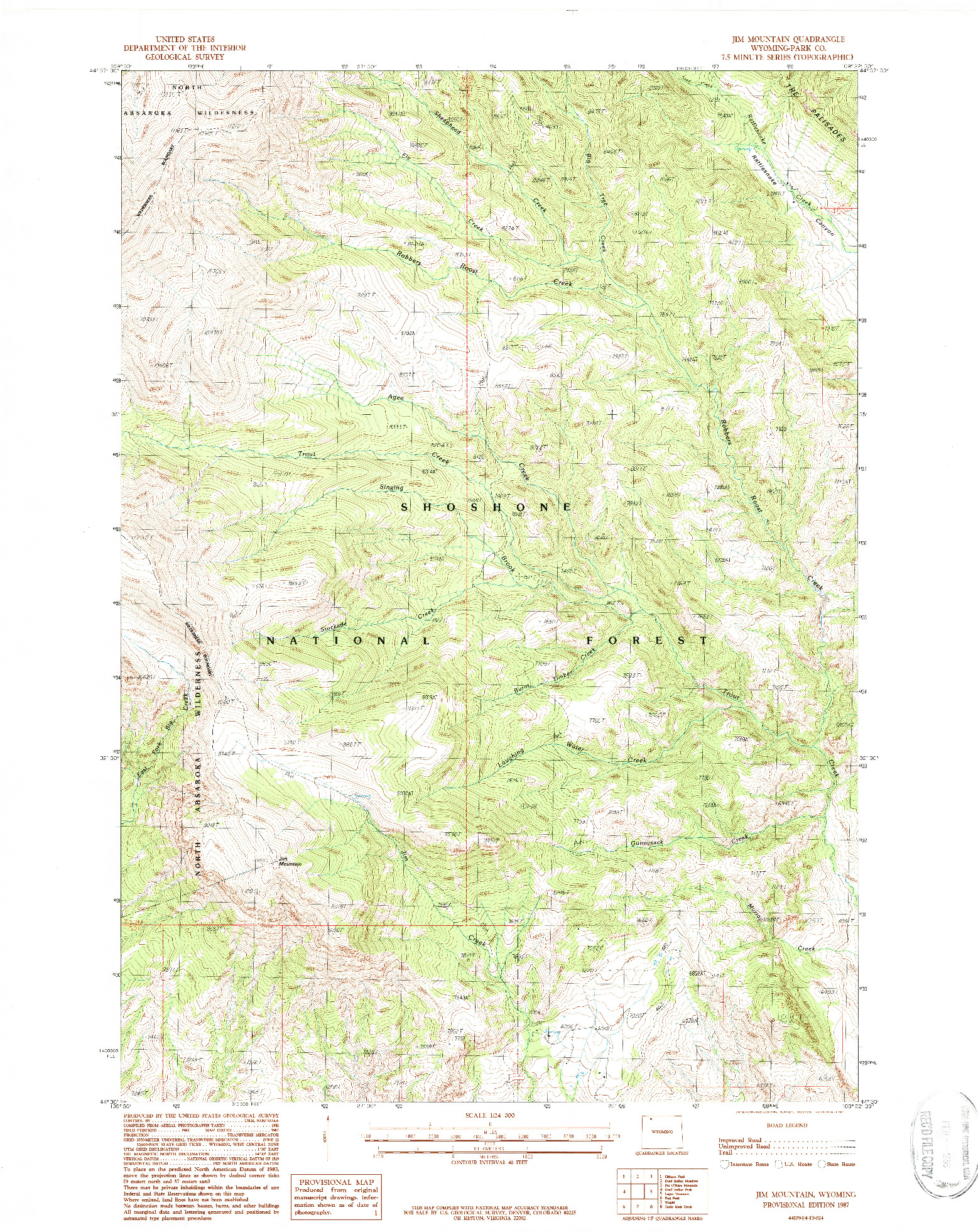 USGS 1:24000-SCALE QUADRANGLE FOR JIM MOUNTAIN, WY 1987