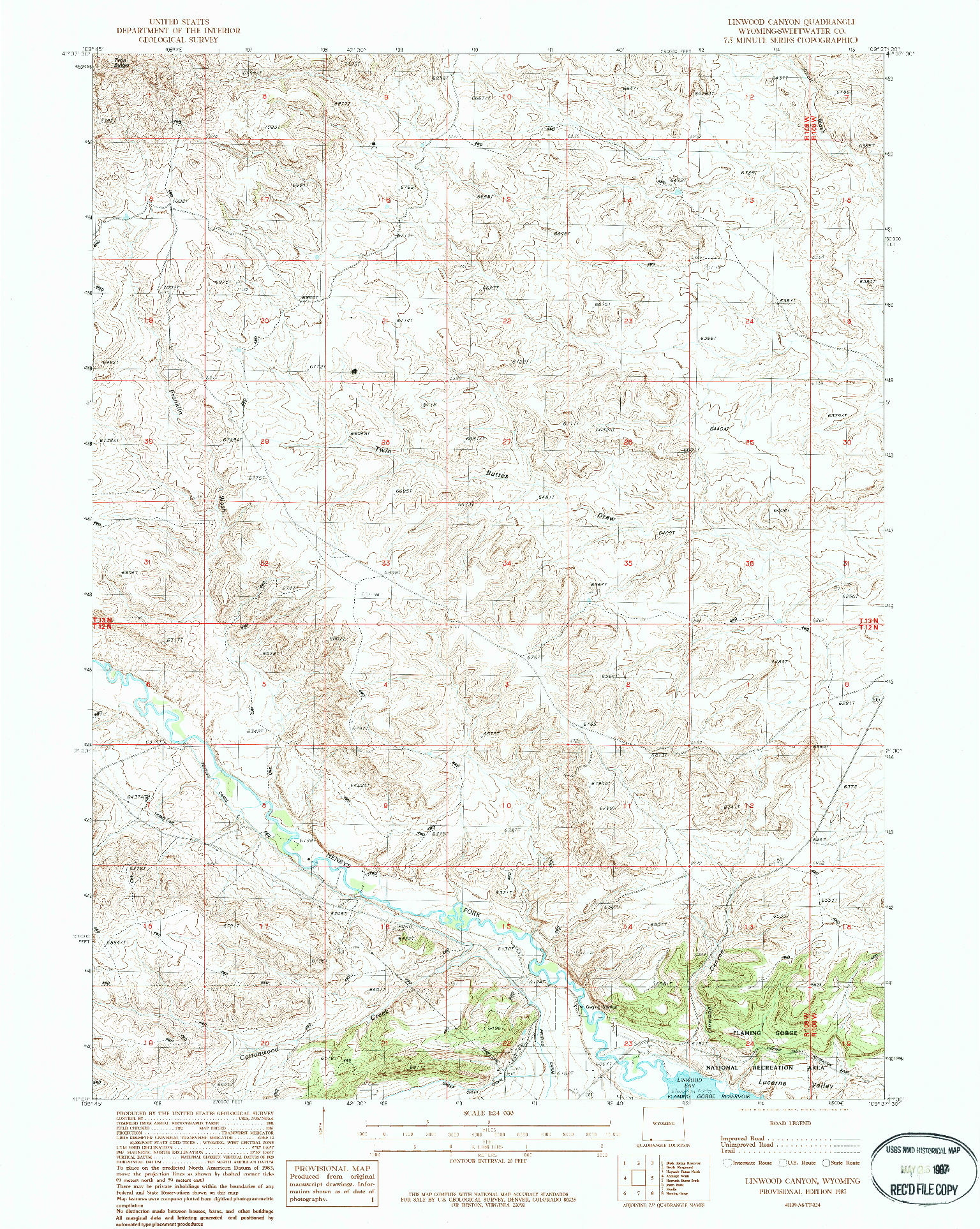 USGS 1:24000-SCALE QUADRANGLE FOR LINWOOD CANYON, WY 1987