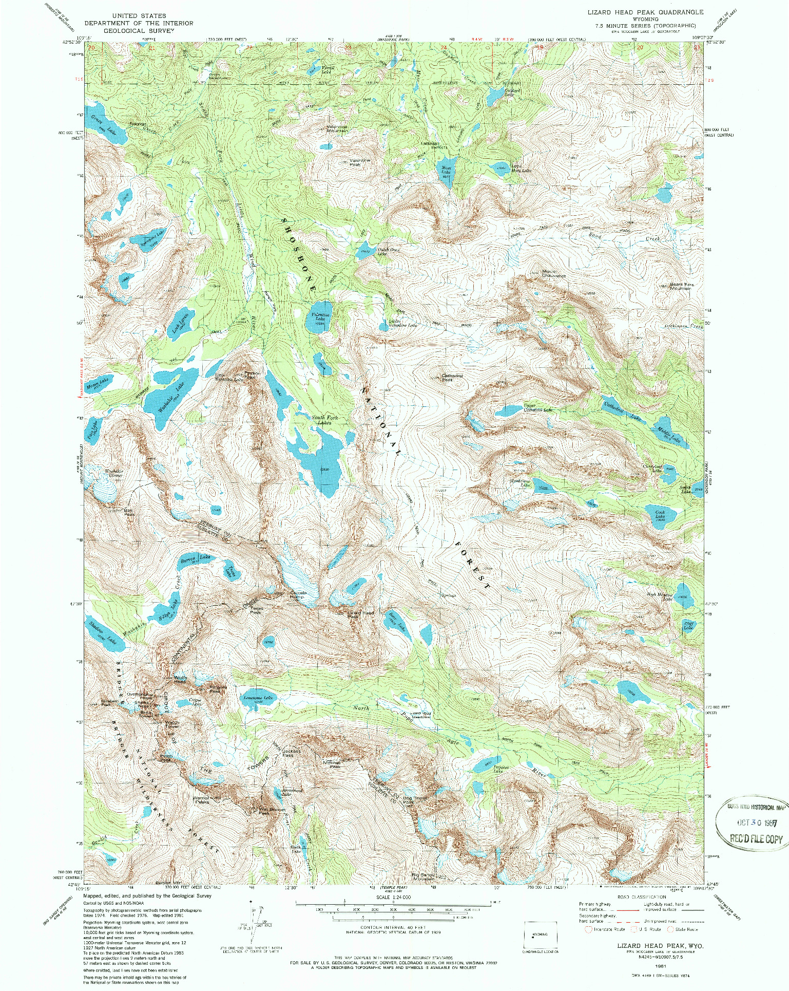 USGS 1:24000-SCALE QUADRANGLE FOR LIZARD HEAD PEAK, WY 1981