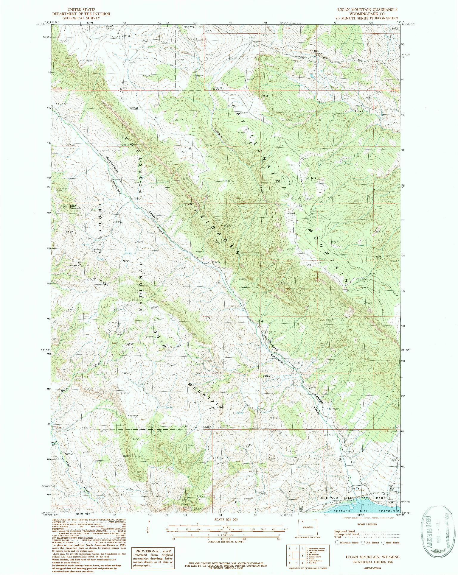 USGS 1:24000-SCALE QUADRANGLE FOR LOGAN MOUNTAIN, WY 1987