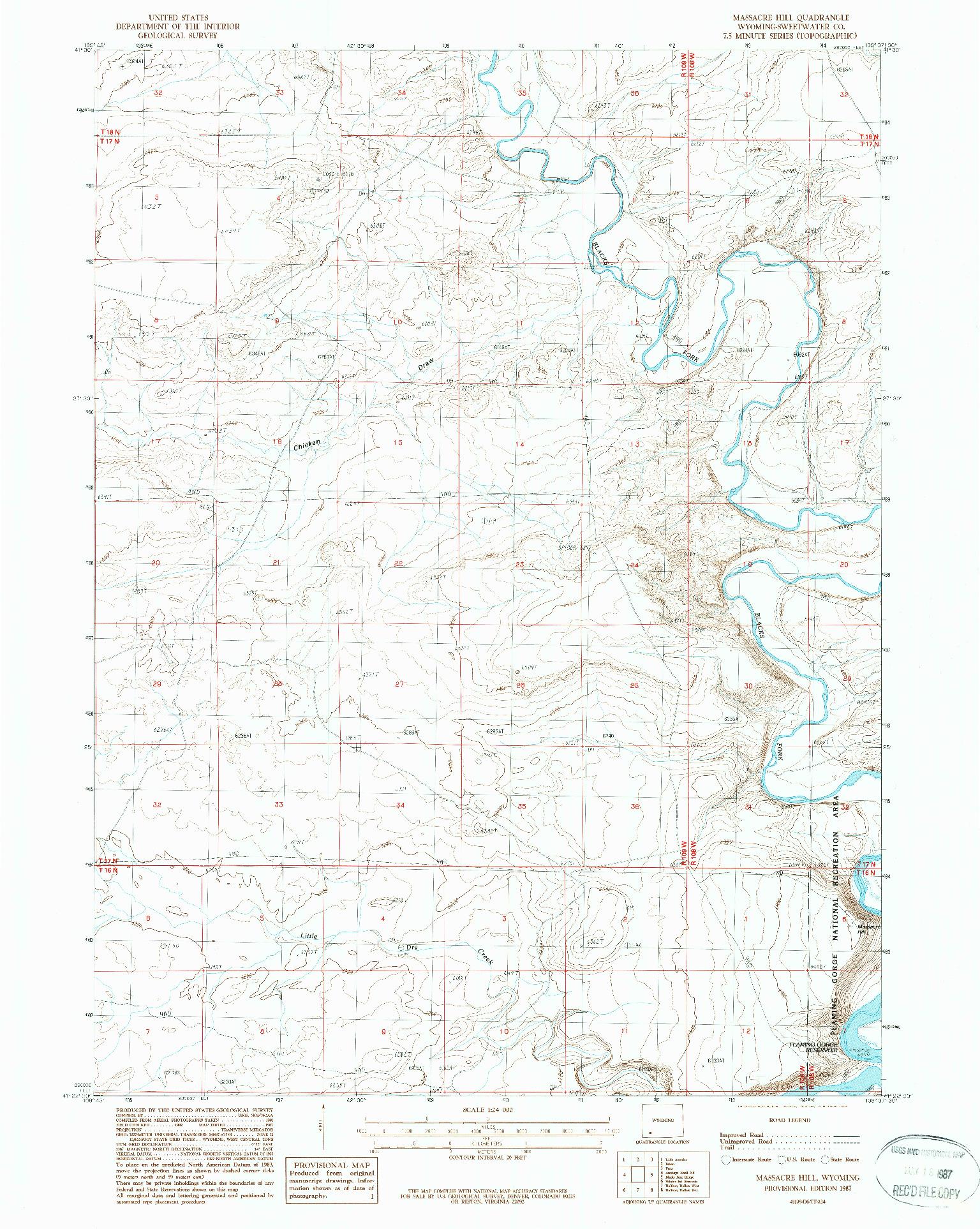 USGS 1:24000-SCALE QUADRANGLE FOR MASSACRE HILL, WY 1987
