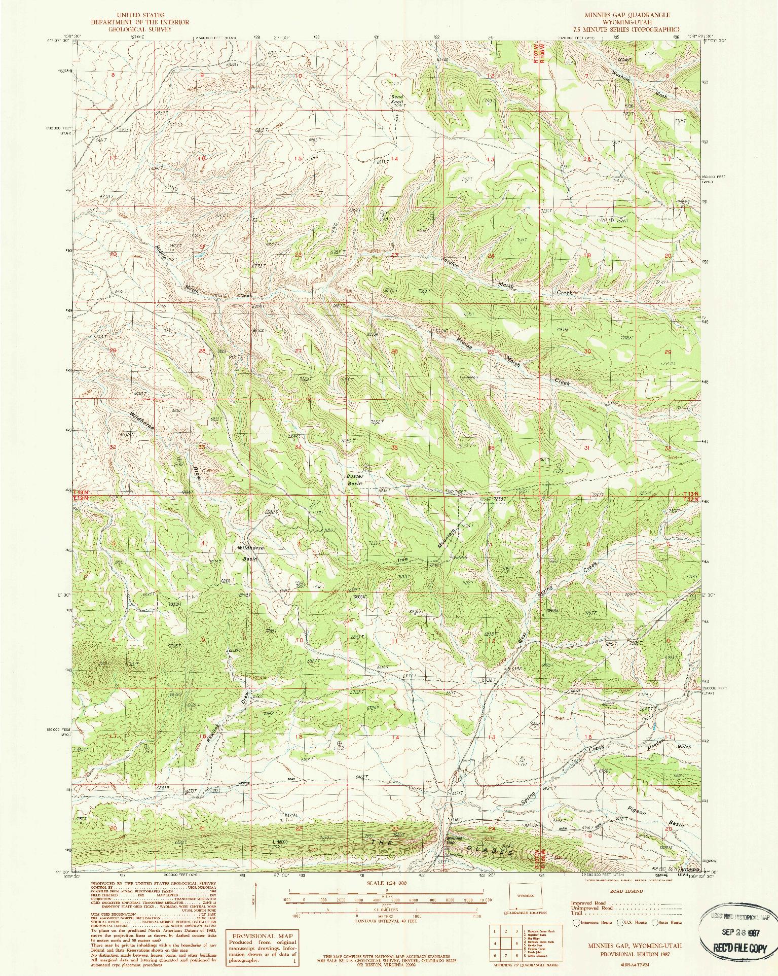 USGS 1:24000-SCALE QUADRANGLE FOR MINNIES GAP, WY 1987