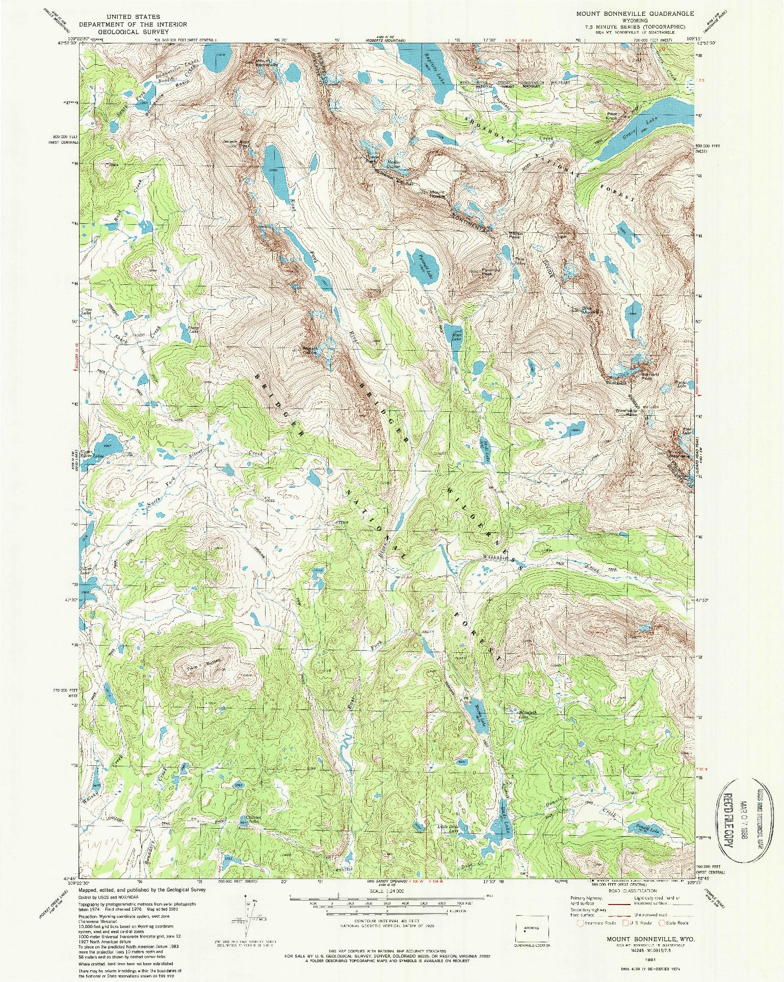 USGS 1:24000-SCALE QUADRANGLE FOR MOUNT BONNEVILLE, WY 1981