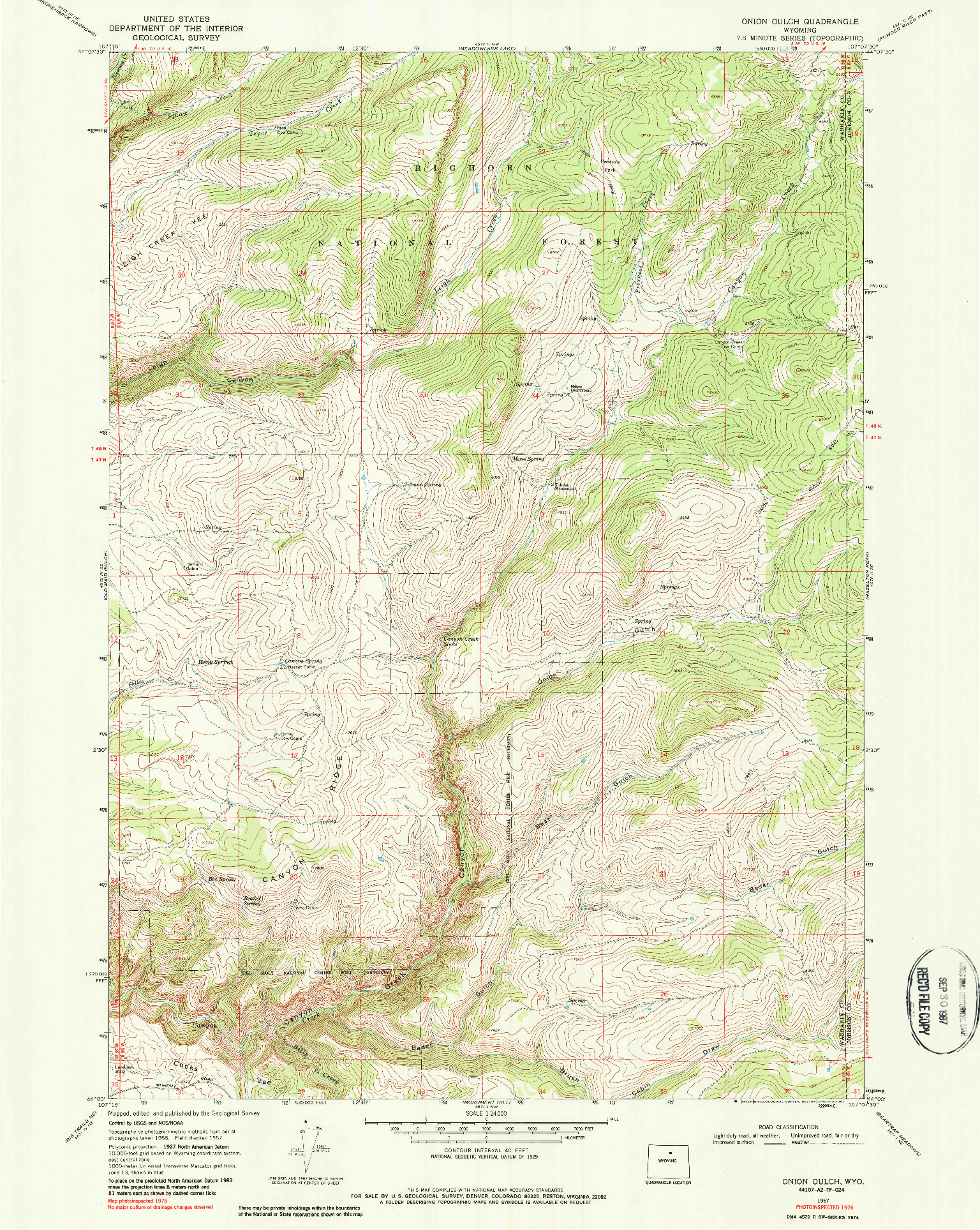 USGS 1:24000-SCALE QUADRANGLE FOR ONION GULCH, WY 1967