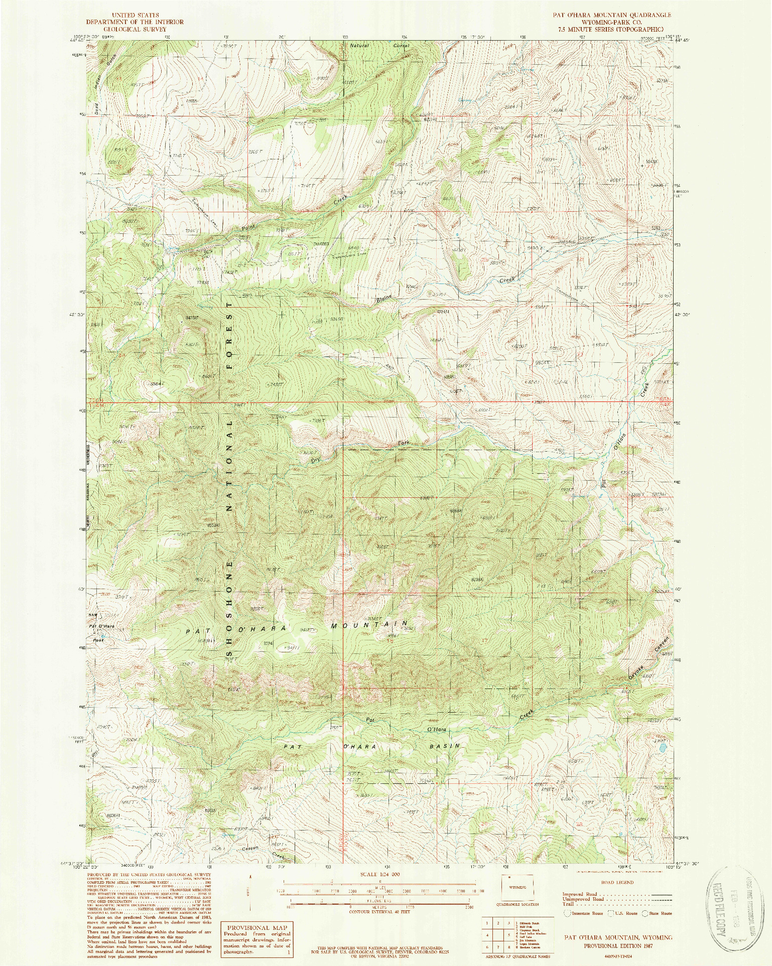 USGS 1:24000-SCALE QUADRANGLE FOR PAT O' HARA MOUNTAIN, WY 1987