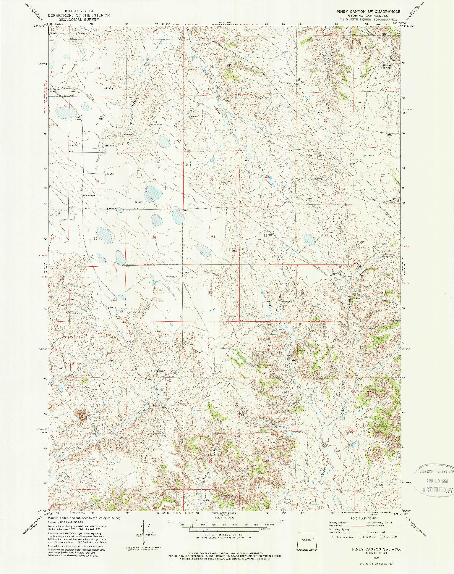 USGS 1:24000-SCALE QUADRANGLE FOR PINEY CANYON SW, WY 1971