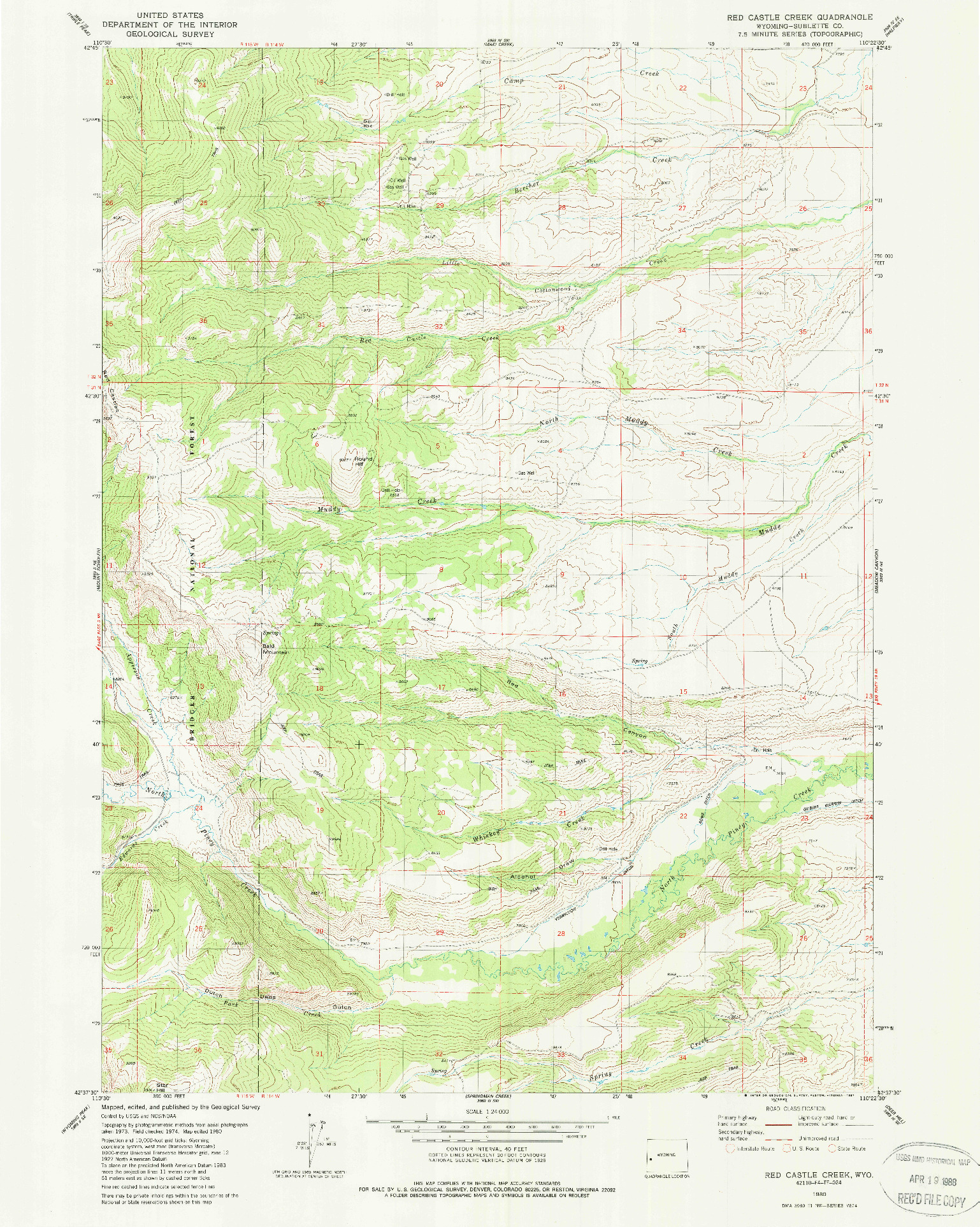 USGS 1:24000-SCALE QUADRANGLE FOR RED CASTLE CREEK, WY 1980