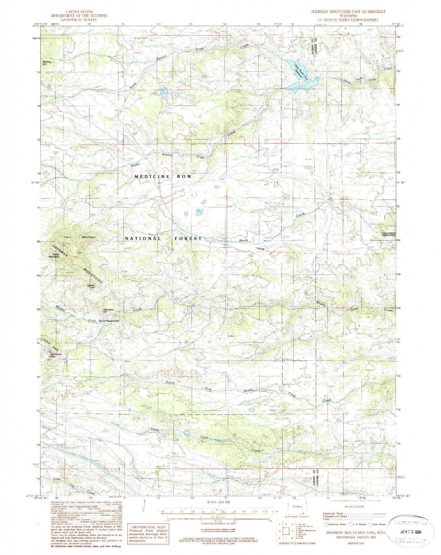 USGS 1:24000-SCALE QUADRANGLE FOR SHERMAN MOUNTAINS EAST, WY 1987