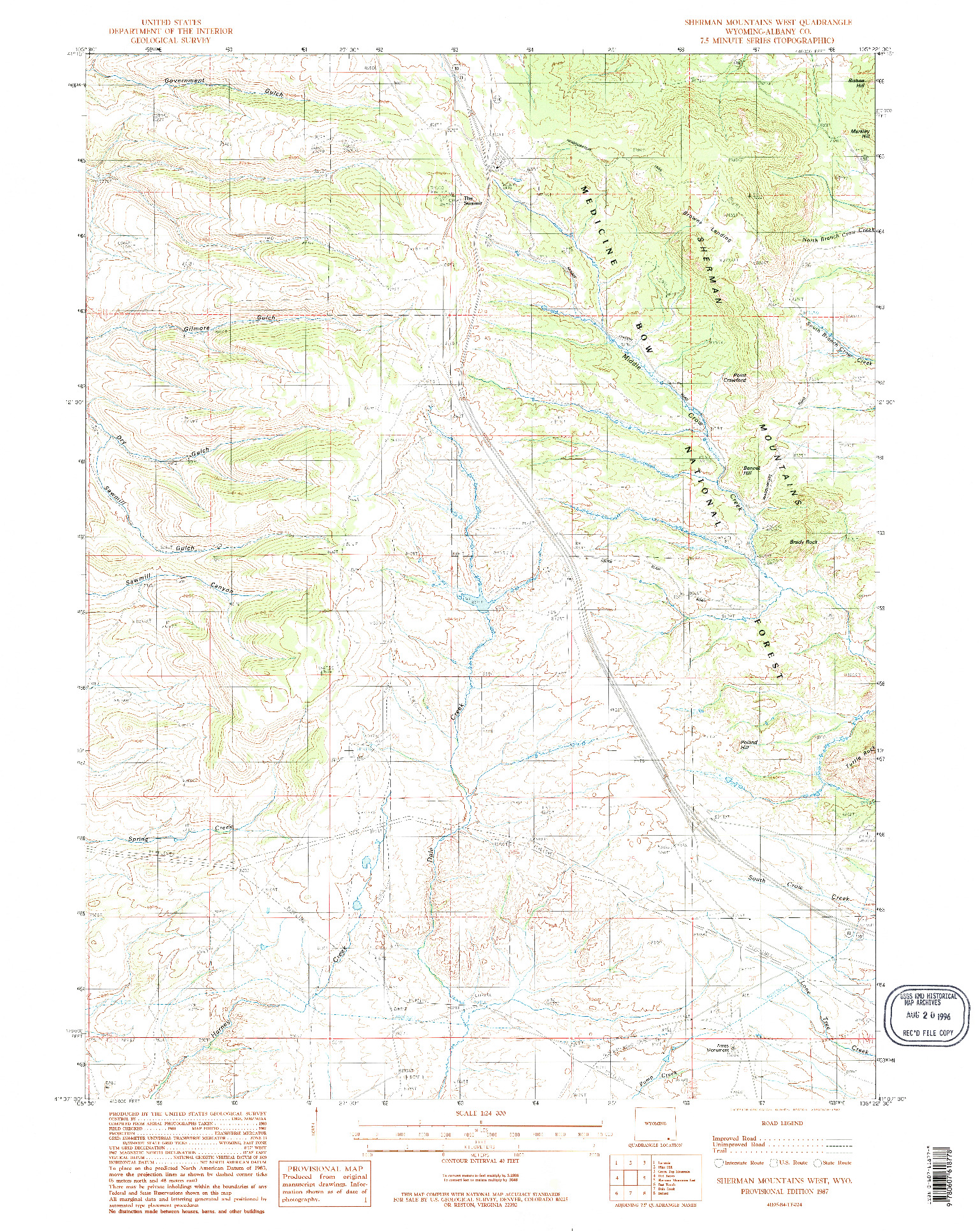 USGS 1:24000-SCALE QUADRANGLE FOR SHERMAN MOUNTAINS WEST, WY 1987