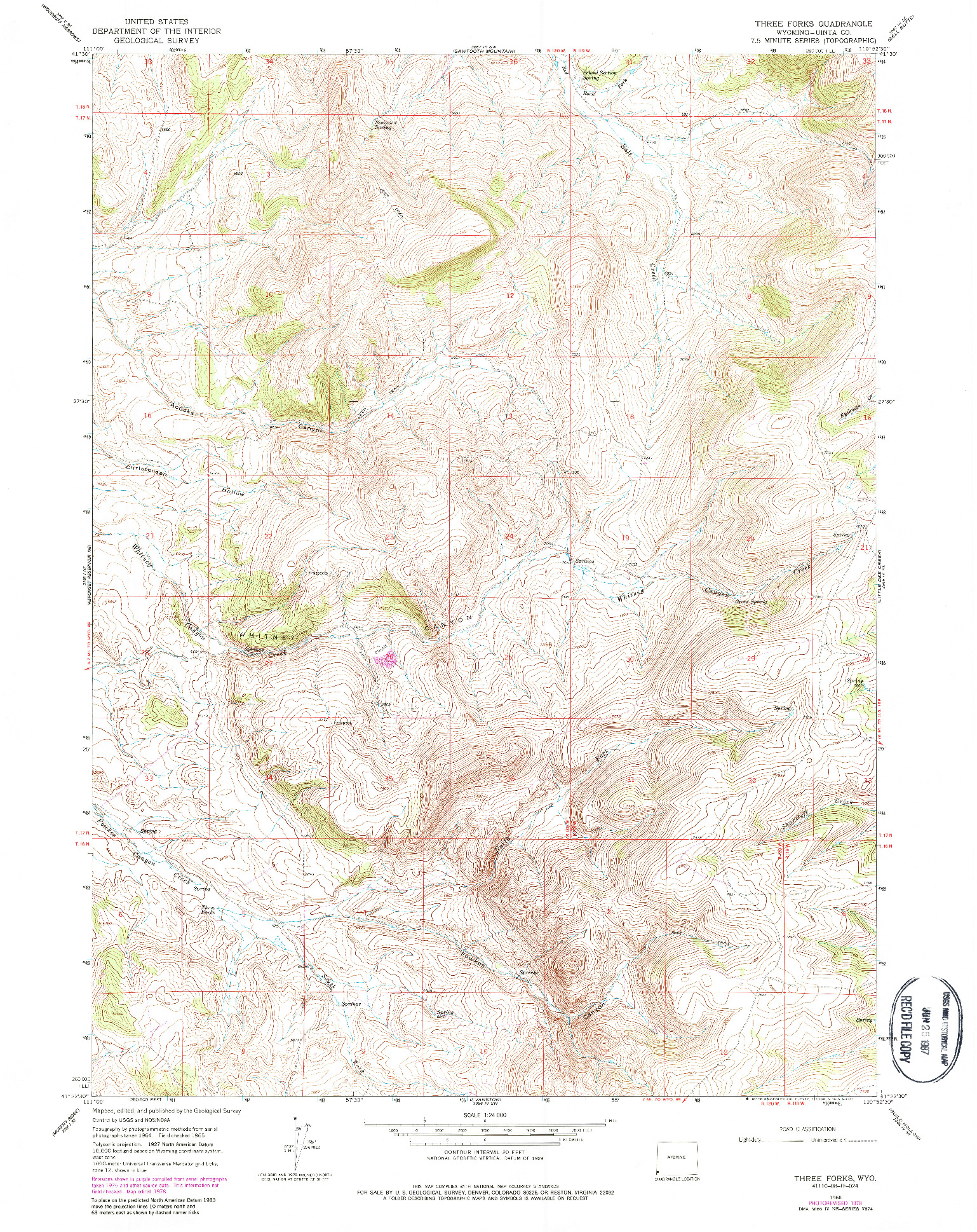 USGS 1:24000-SCALE QUADRANGLE FOR THREE FORKS, WY 1965