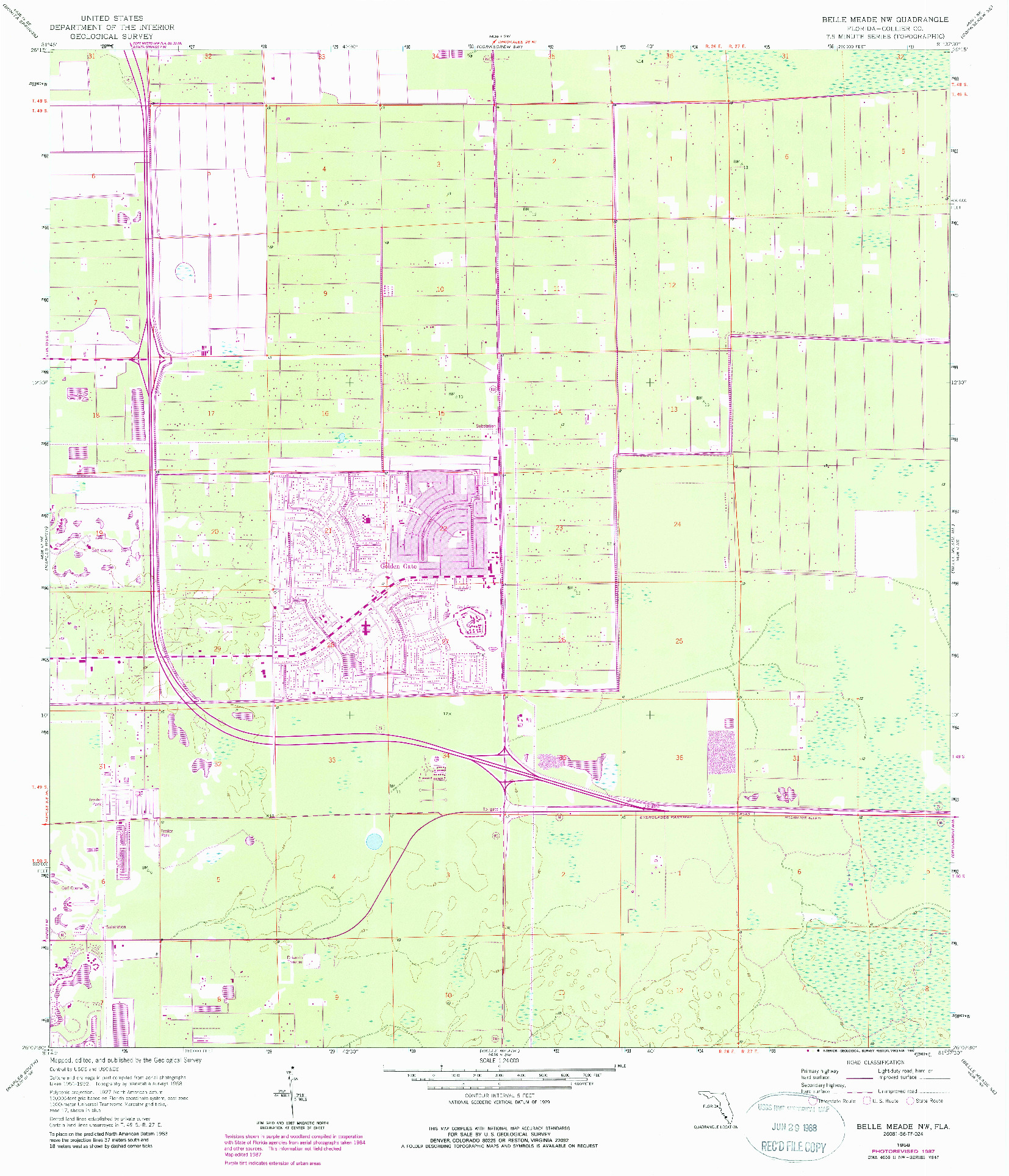 USGS 1:24000-SCALE QUADRANGLE FOR BELLE MEADE NW, FL 1958
