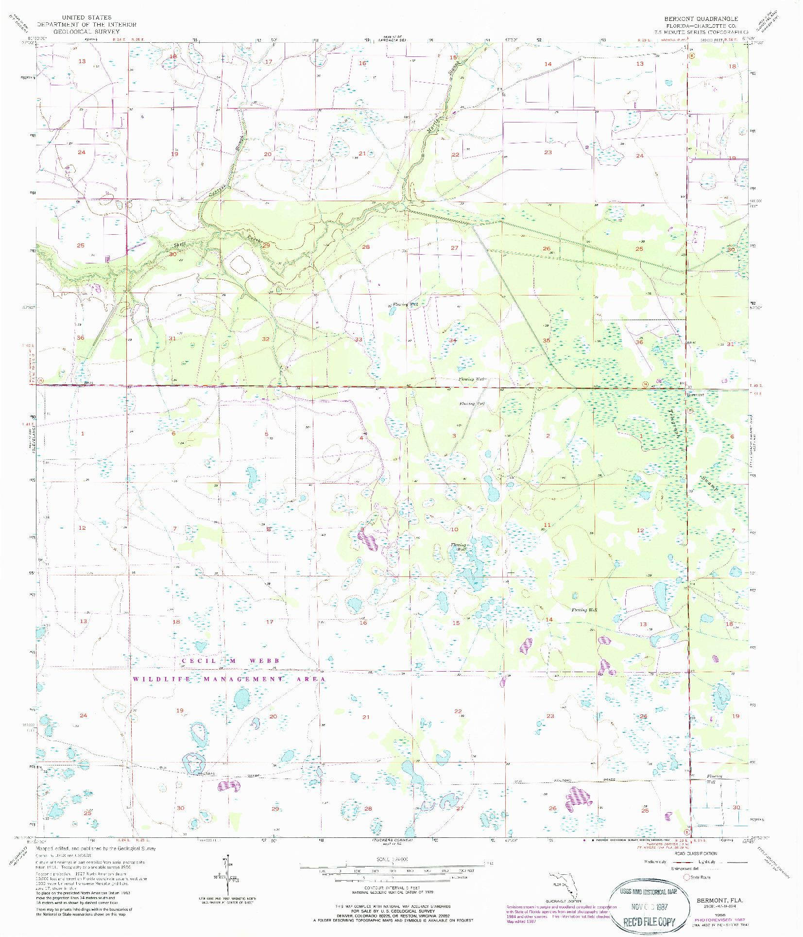 USGS 1:24000-SCALE QUADRANGLE FOR BERMONT, FL 1956