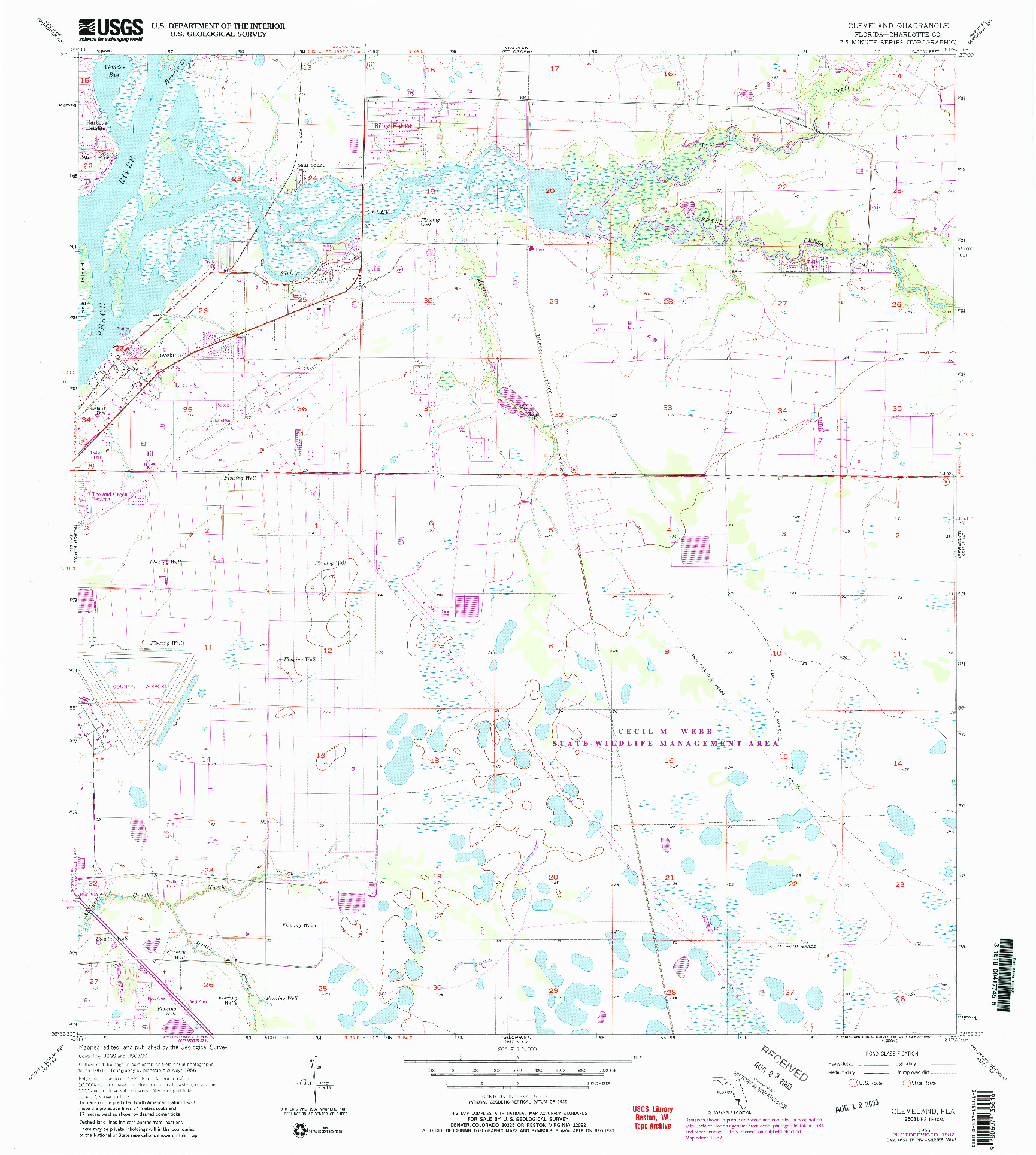 USGS 1:24000-SCALE QUADRANGLE FOR CLEVELAND, FL 1956