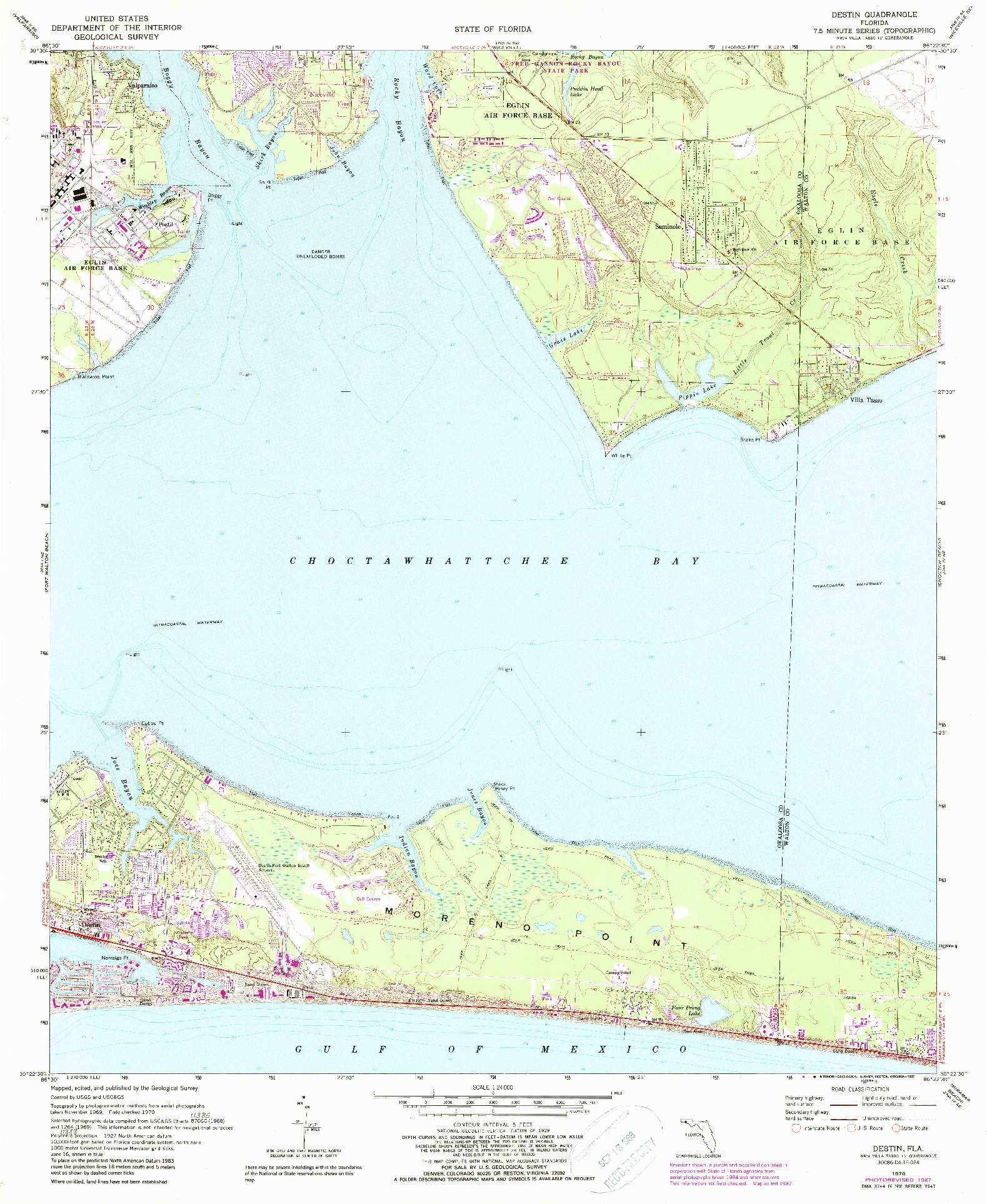 USGS 1:24000-SCALE QUADRANGLE FOR DESTIN, FL 1970