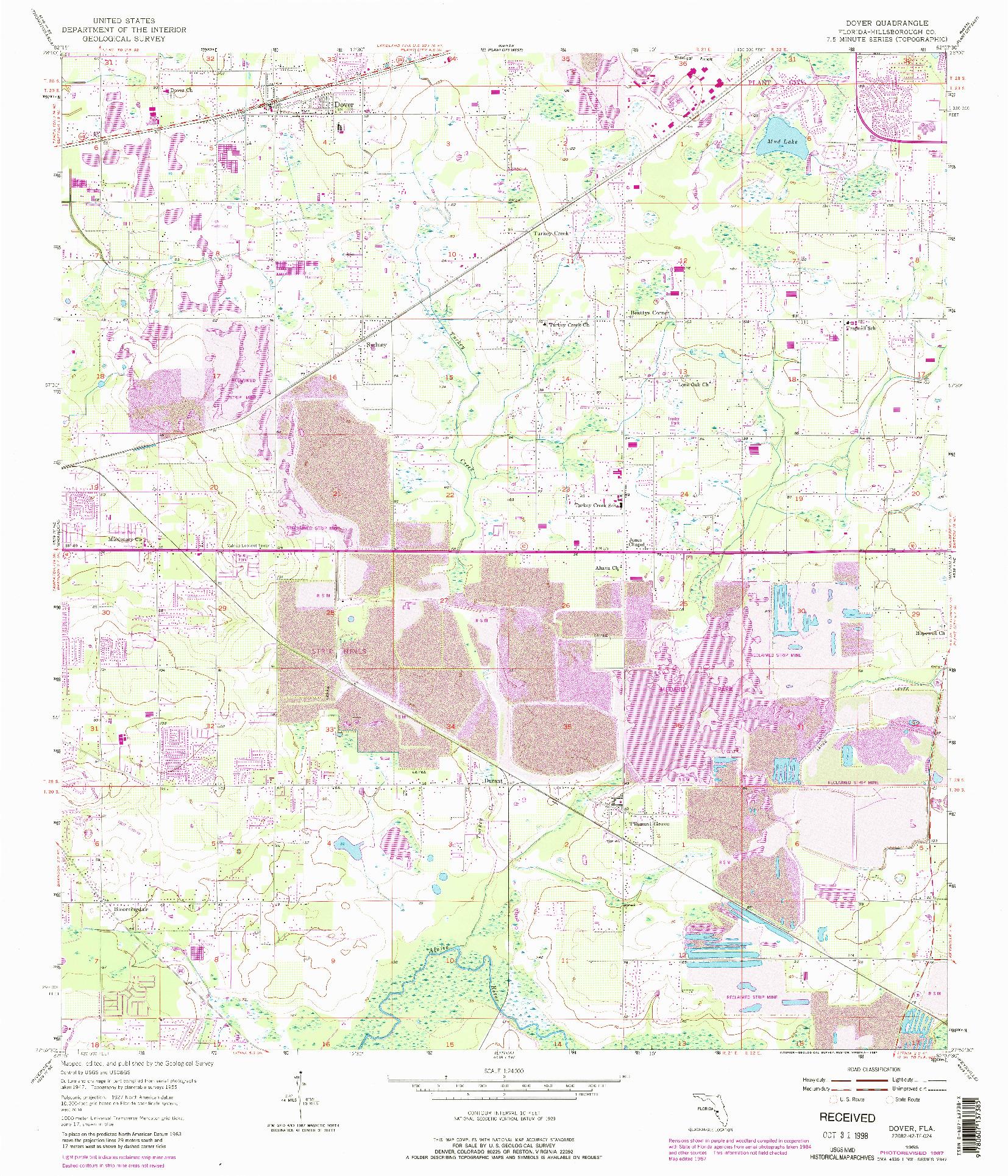 USGS 1:24000-SCALE QUADRANGLE FOR DOVER, FL 1955