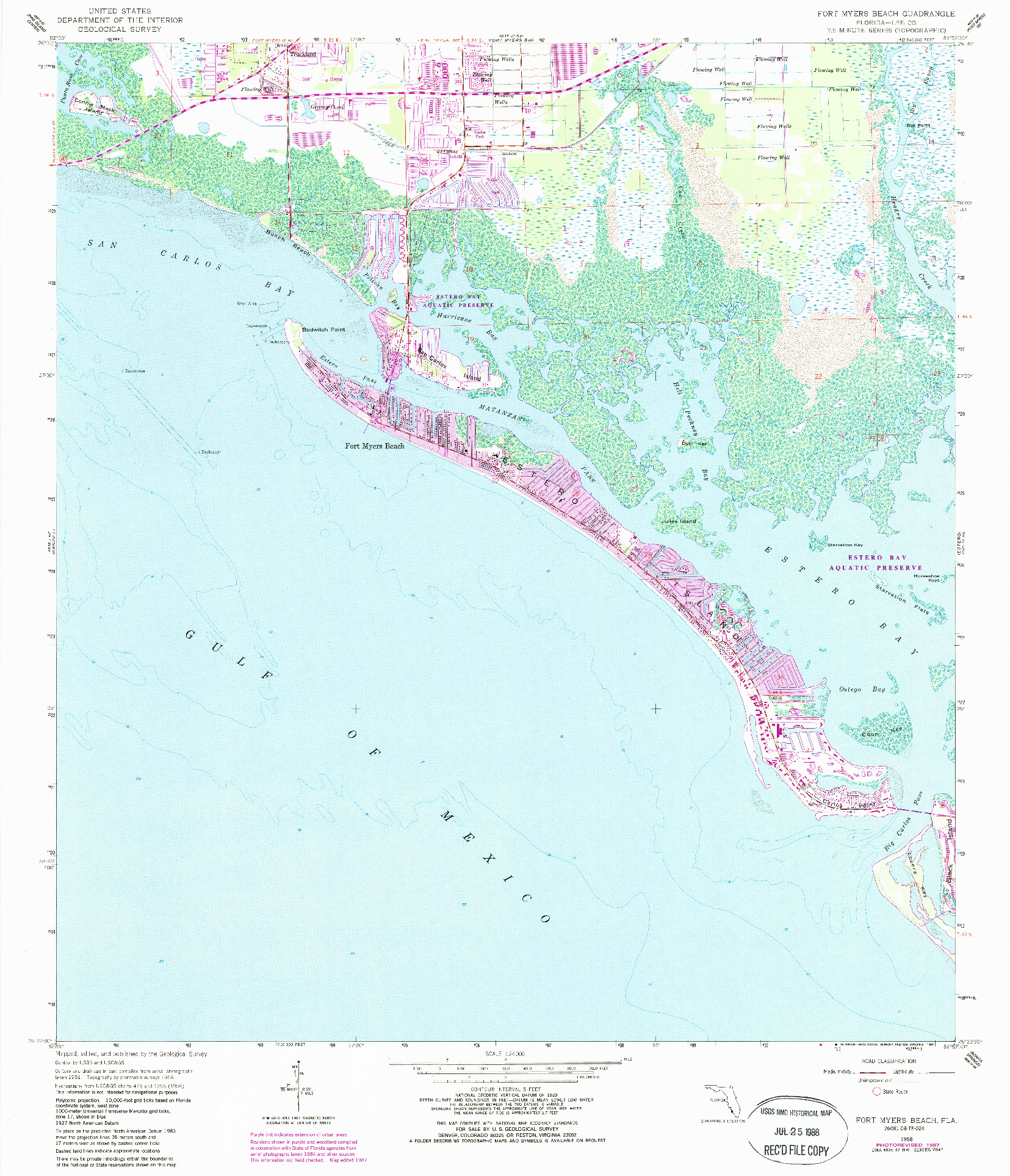 USGS 1:24000-SCALE QUADRANGLE FOR FORT MYERS BEACH, FL 1958