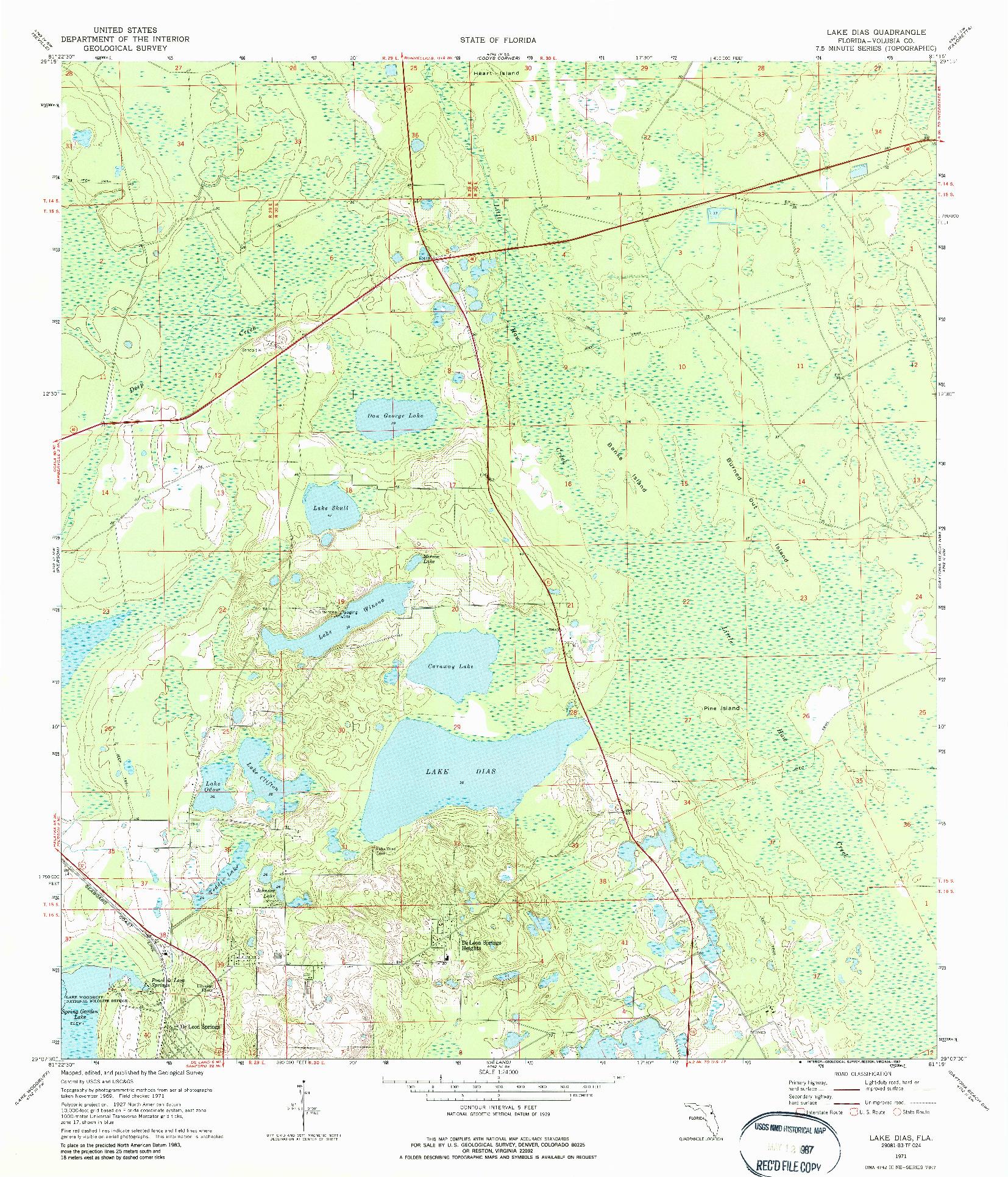 USGS 1:24000-SCALE QUADRANGLE FOR LAKE DIAS, FL 1971