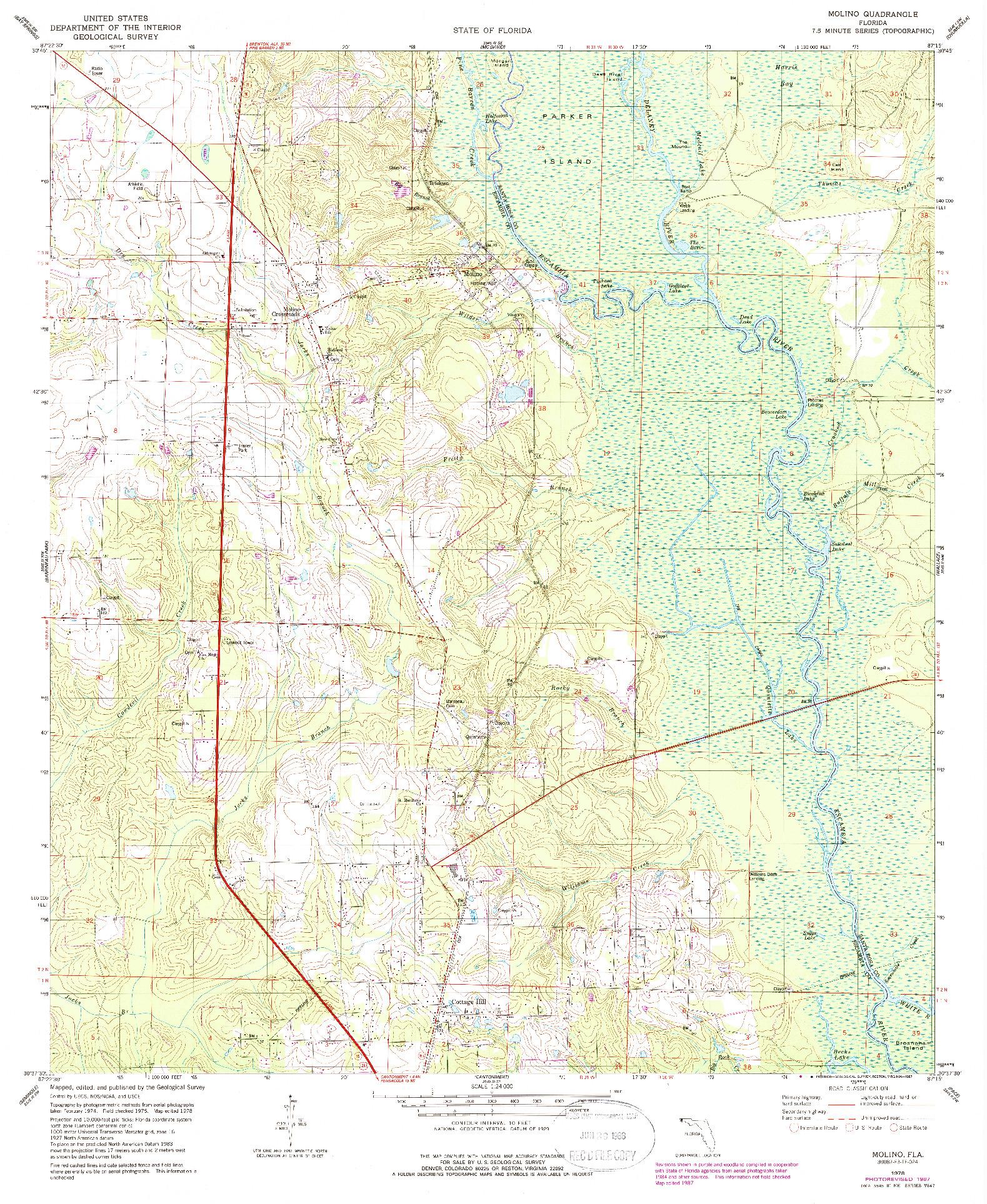 USGS 1:24000-SCALE QUADRANGLE FOR MOLINO, FL 1978