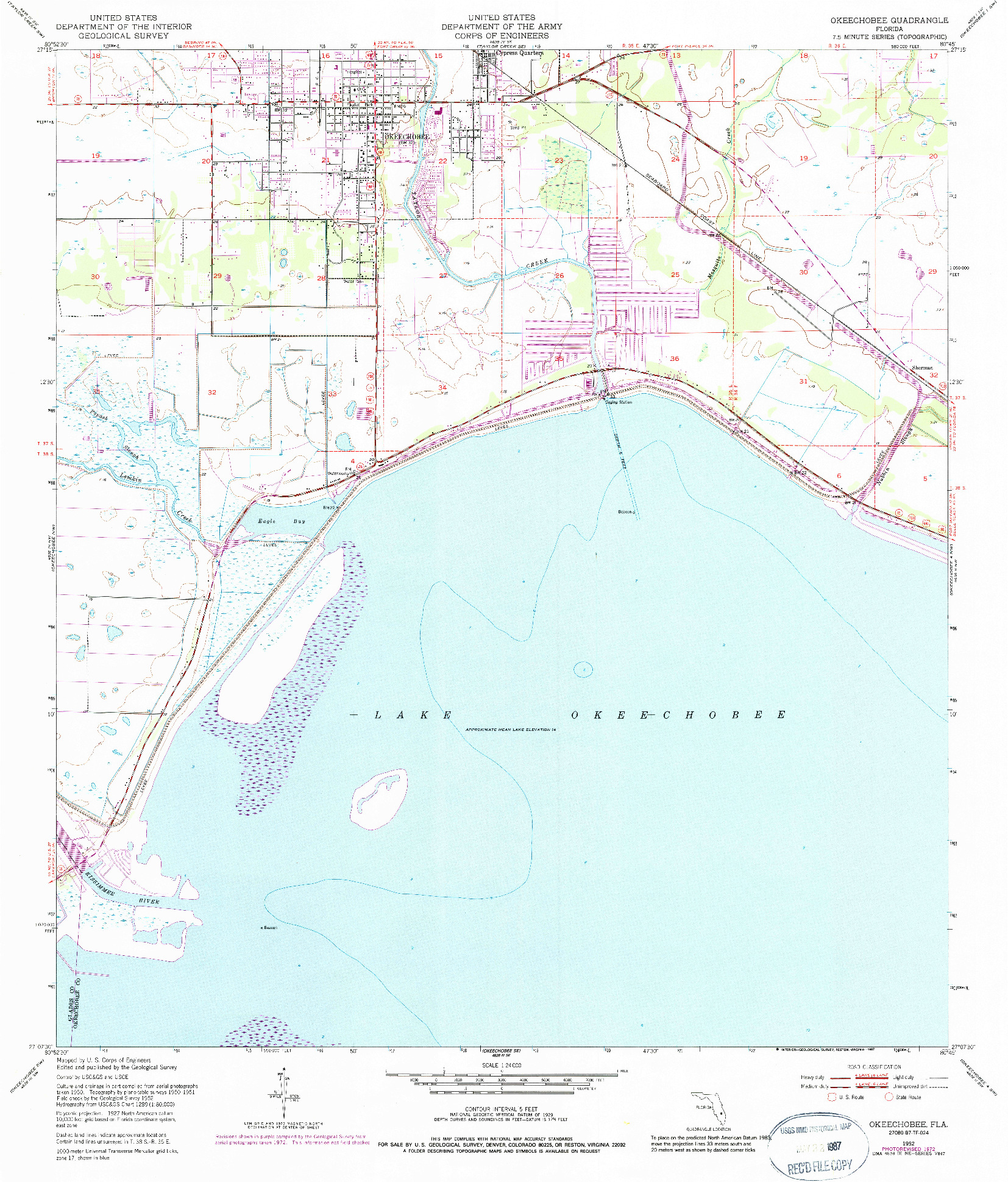USGS 1:24000-SCALE QUADRANGLE FOR OKEECHOBEE, FL 1952