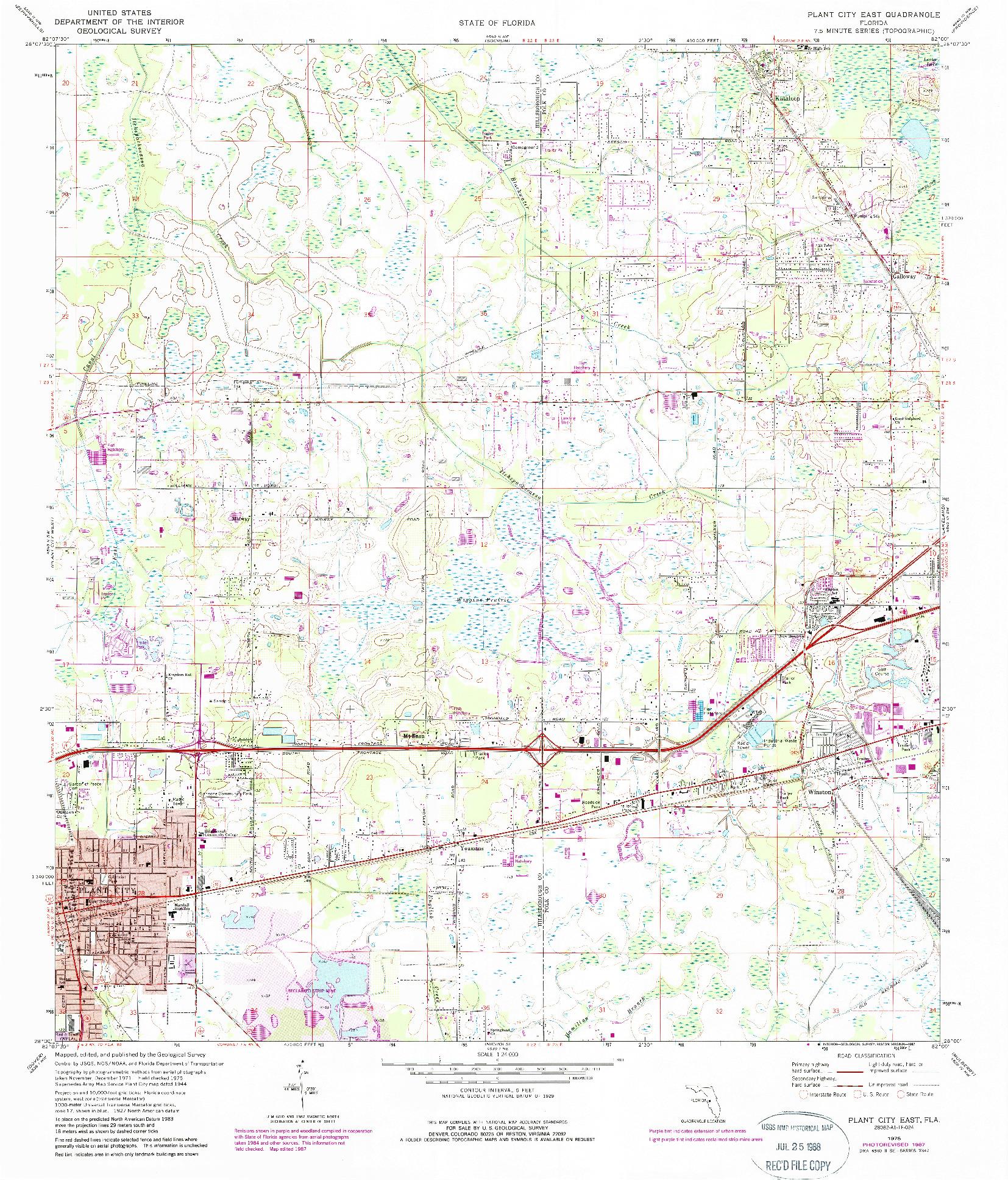 USGS 1:24000-SCALE QUADRANGLE FOR PLANT CITY EAST, FL 1975