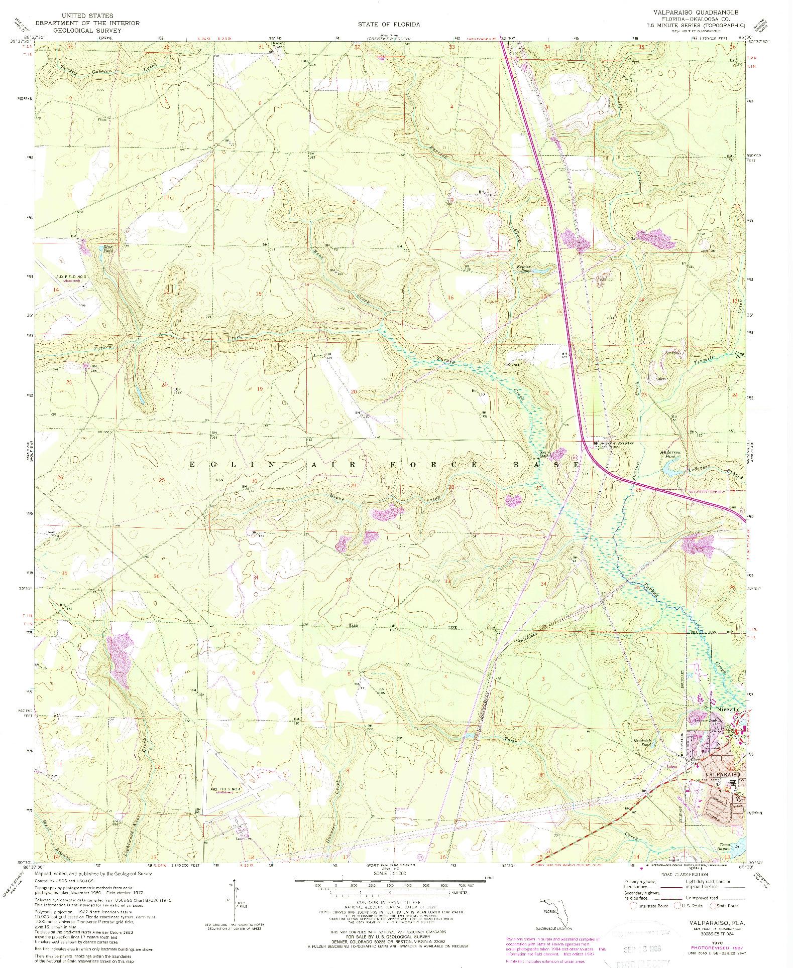 USGS 1:24000-SCALE QUADRANGLE FOR VALPARAISO, FL 1970