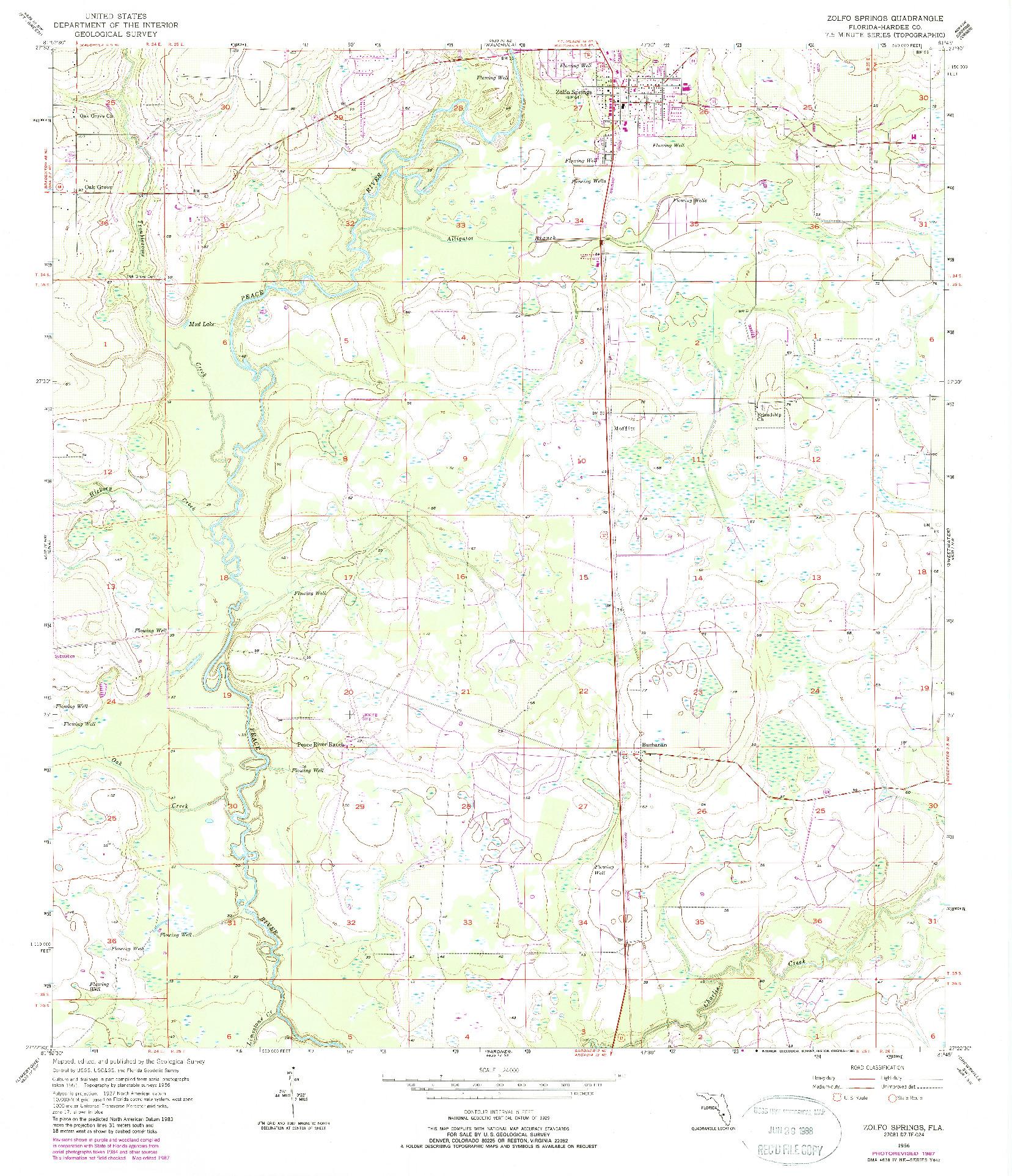 USGS 1:24000-SCALE QUADRANGLE FOR ZOLFO SPRINGS, FL 1956